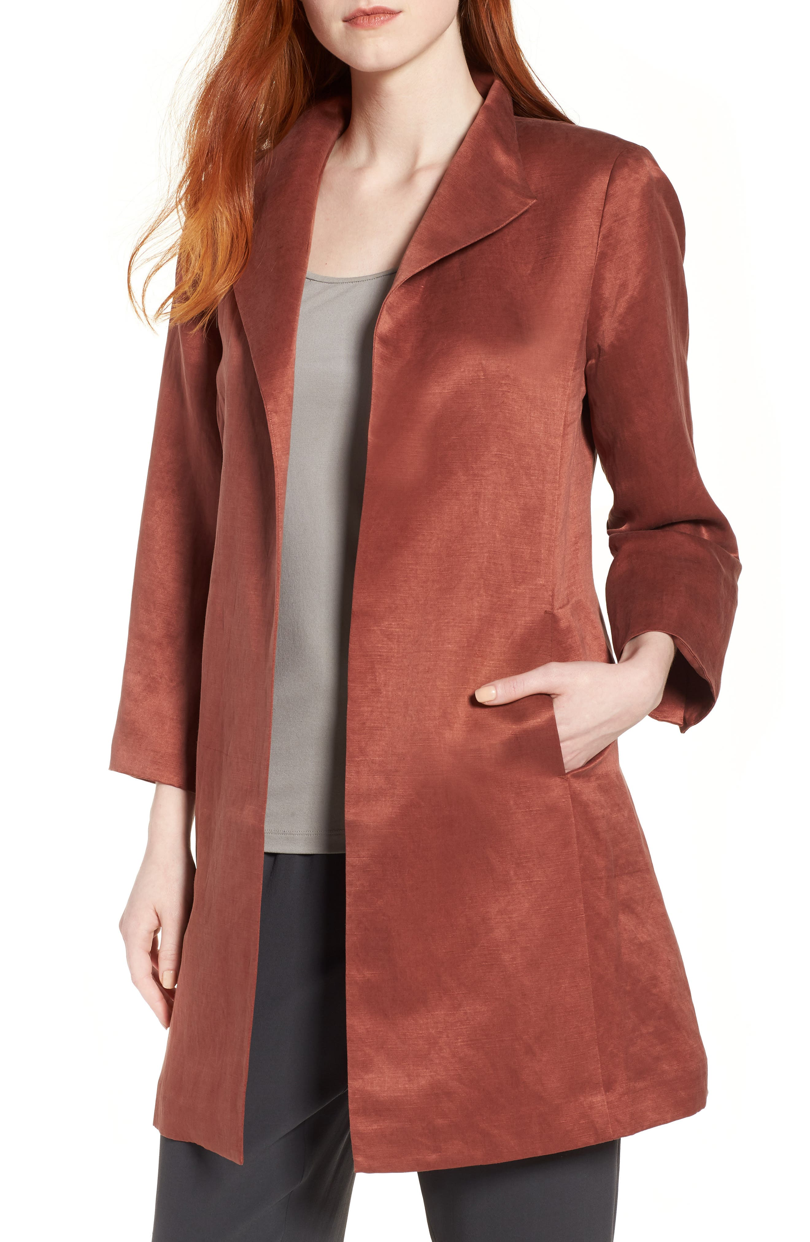 High Collar Long Jacket,                         Main,                         color, Russet