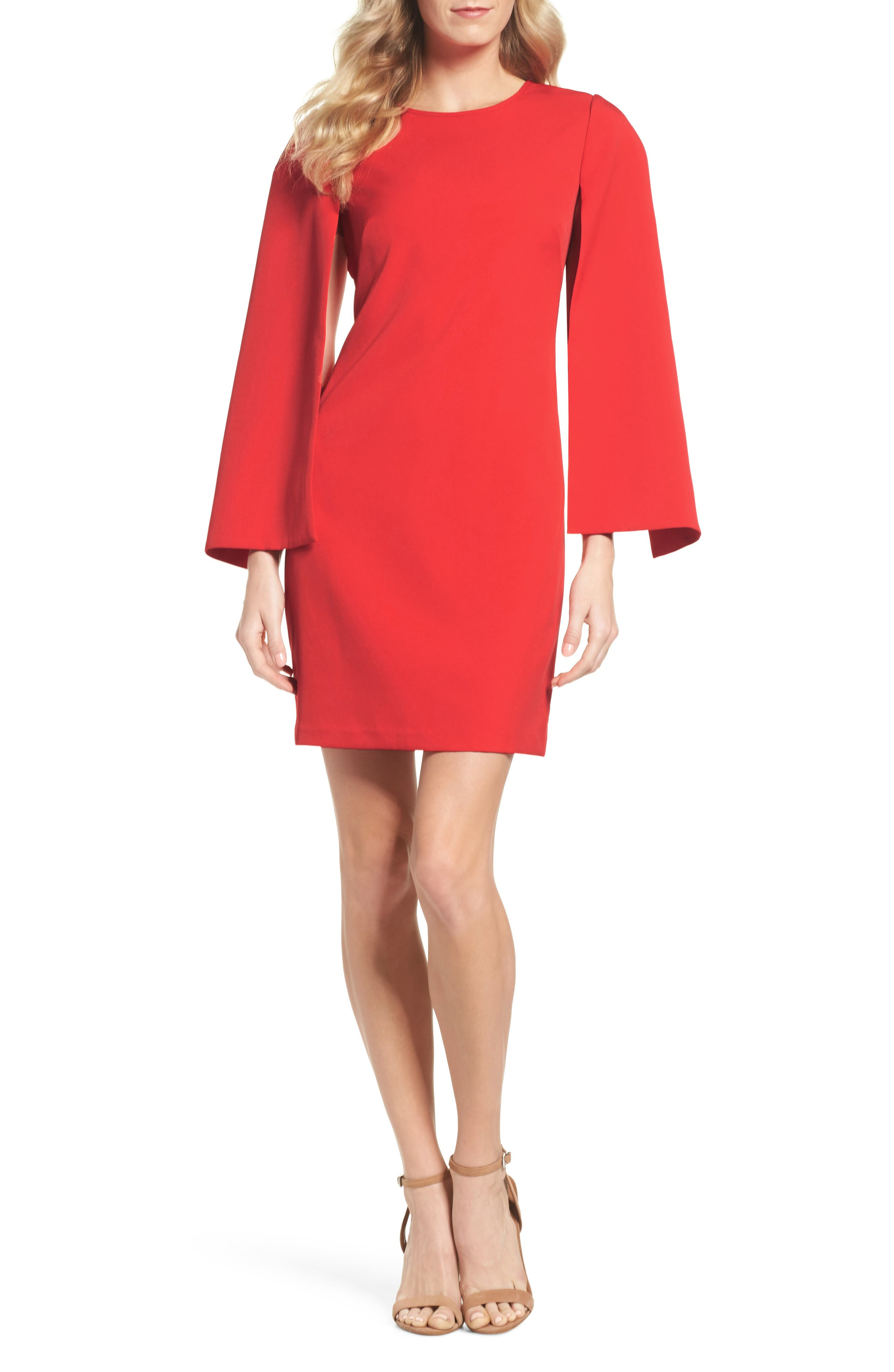 Cape Sleeve Minidress,                         Main,                         color, Red