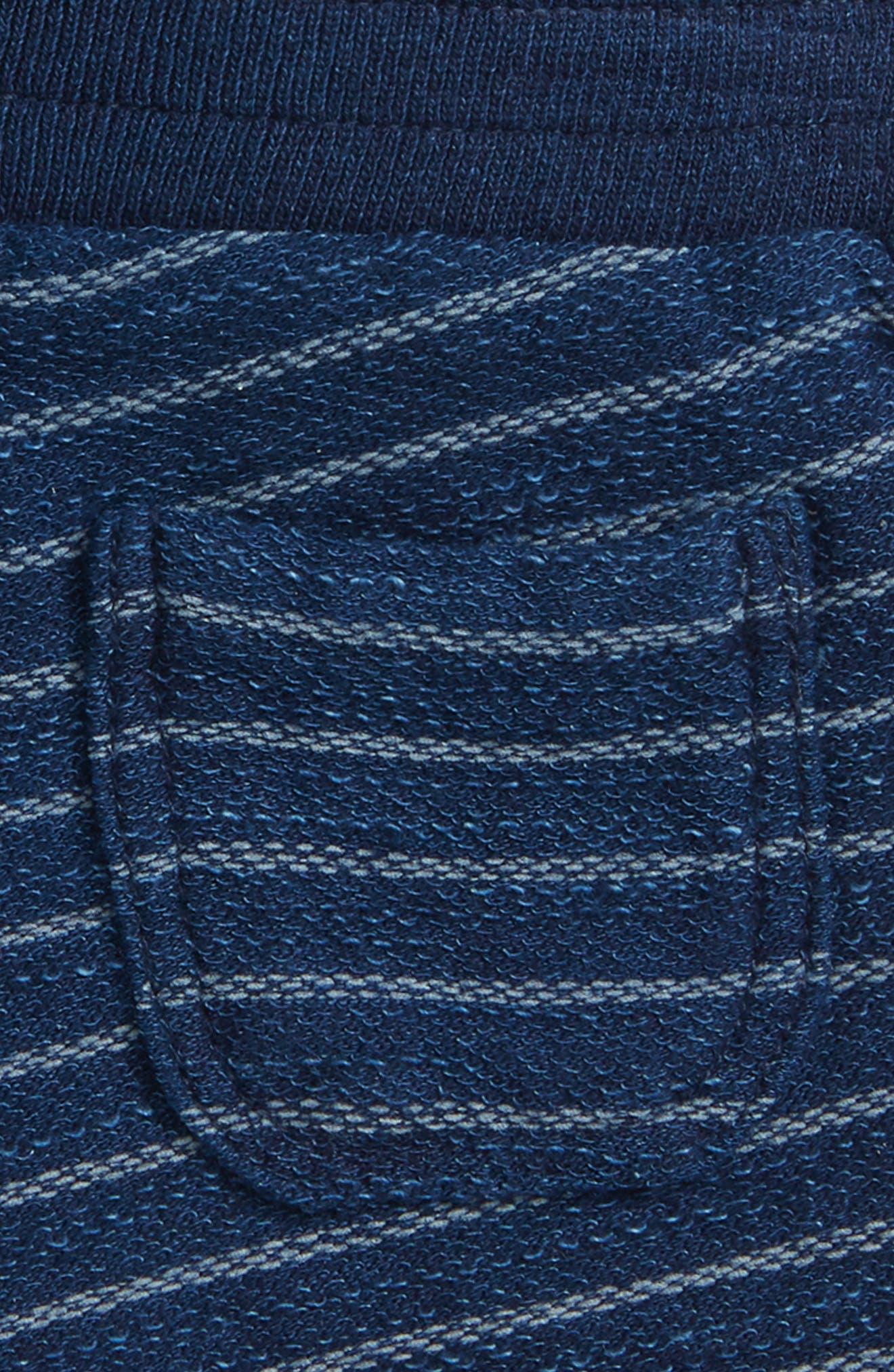 Indigo Stripe French Terry Shorts,                             Alternate thumbnail 3, color,                             Dark Stone/ Indigo
