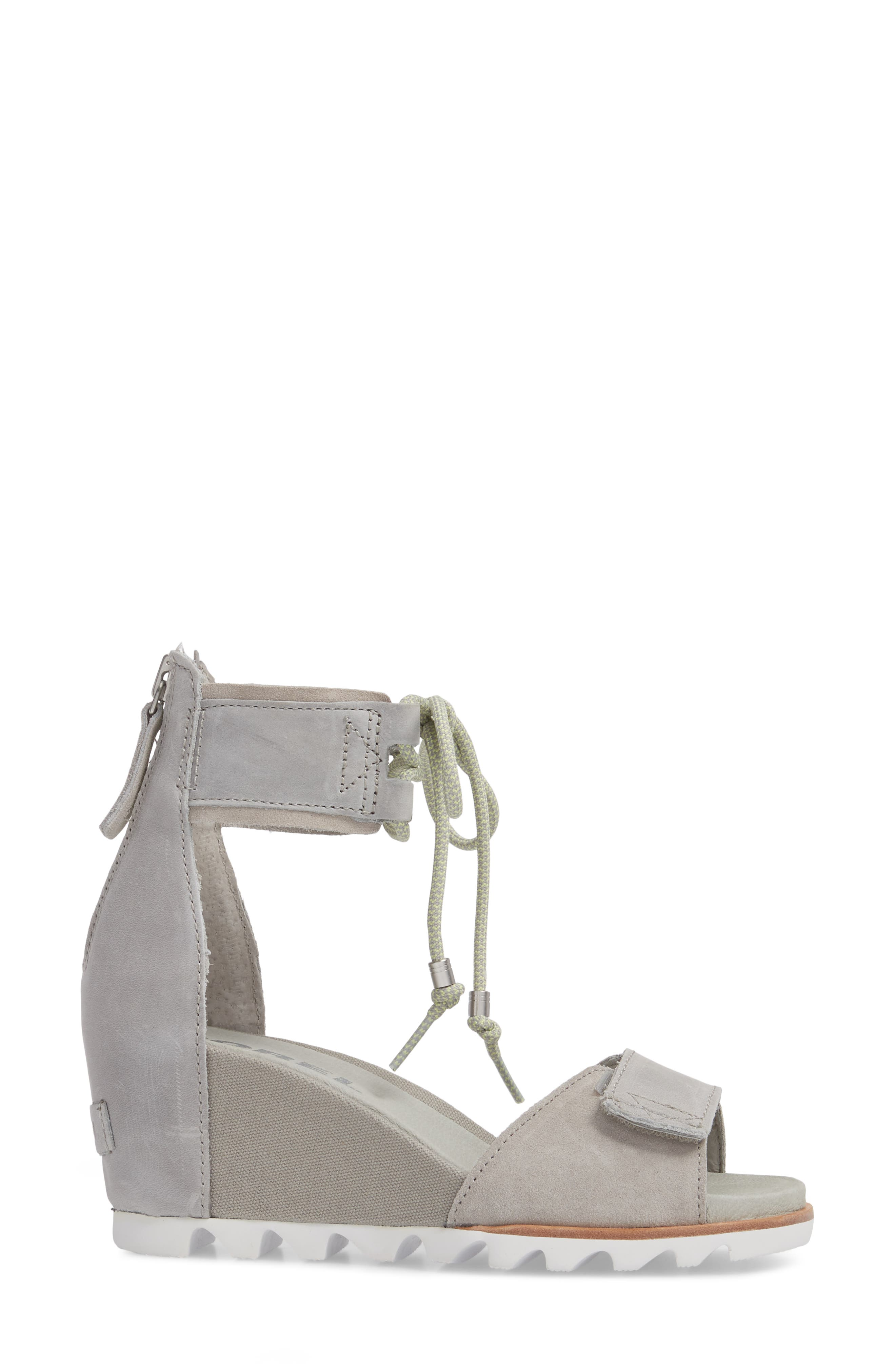 Joanie Cuff Wedge Sandal,                             Alternate thumbnail 3, color,                             Dove