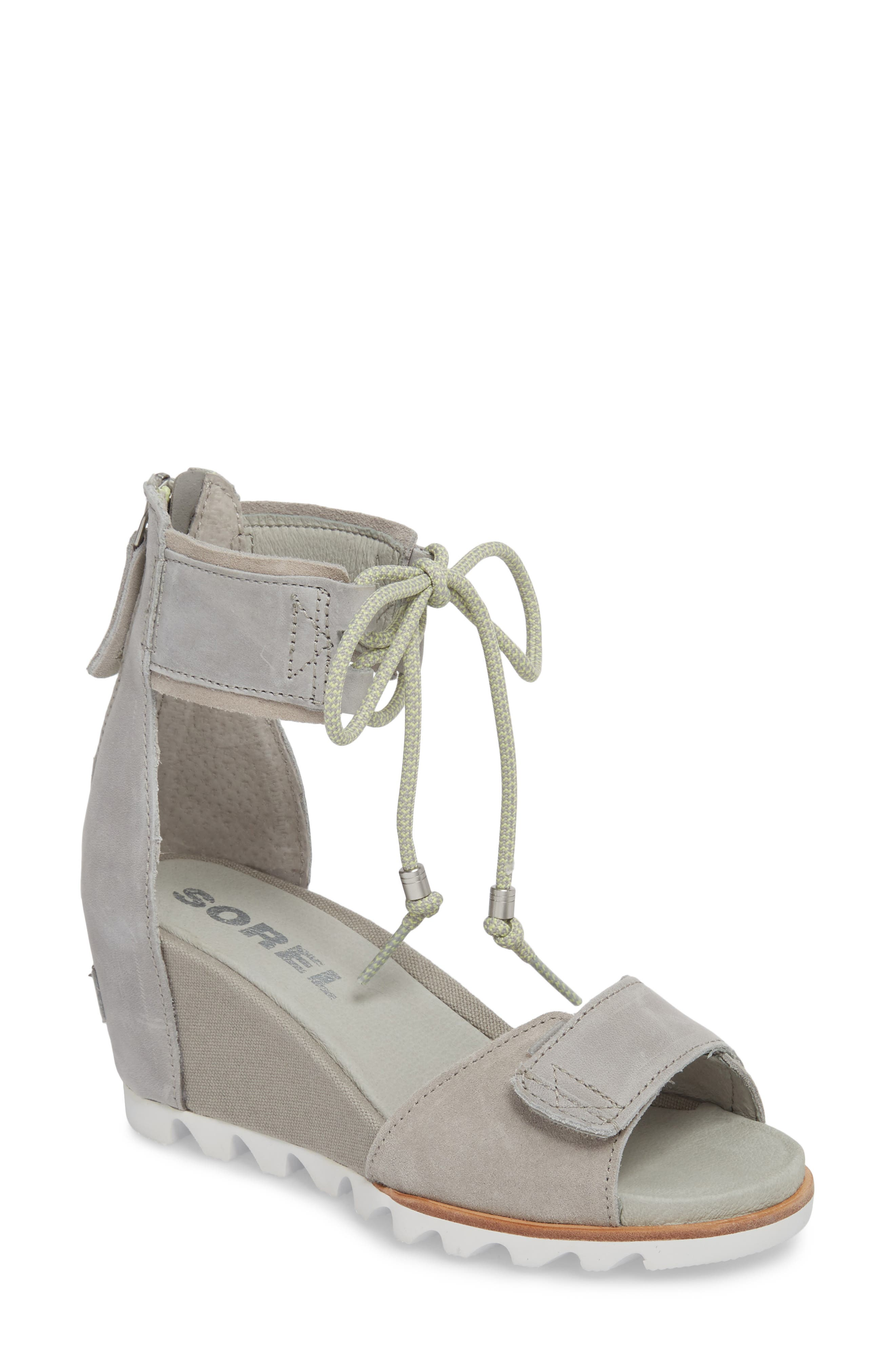 Joanie Cuff Wedge Sandal,                             Main thumbnail 1, color,                             Dove