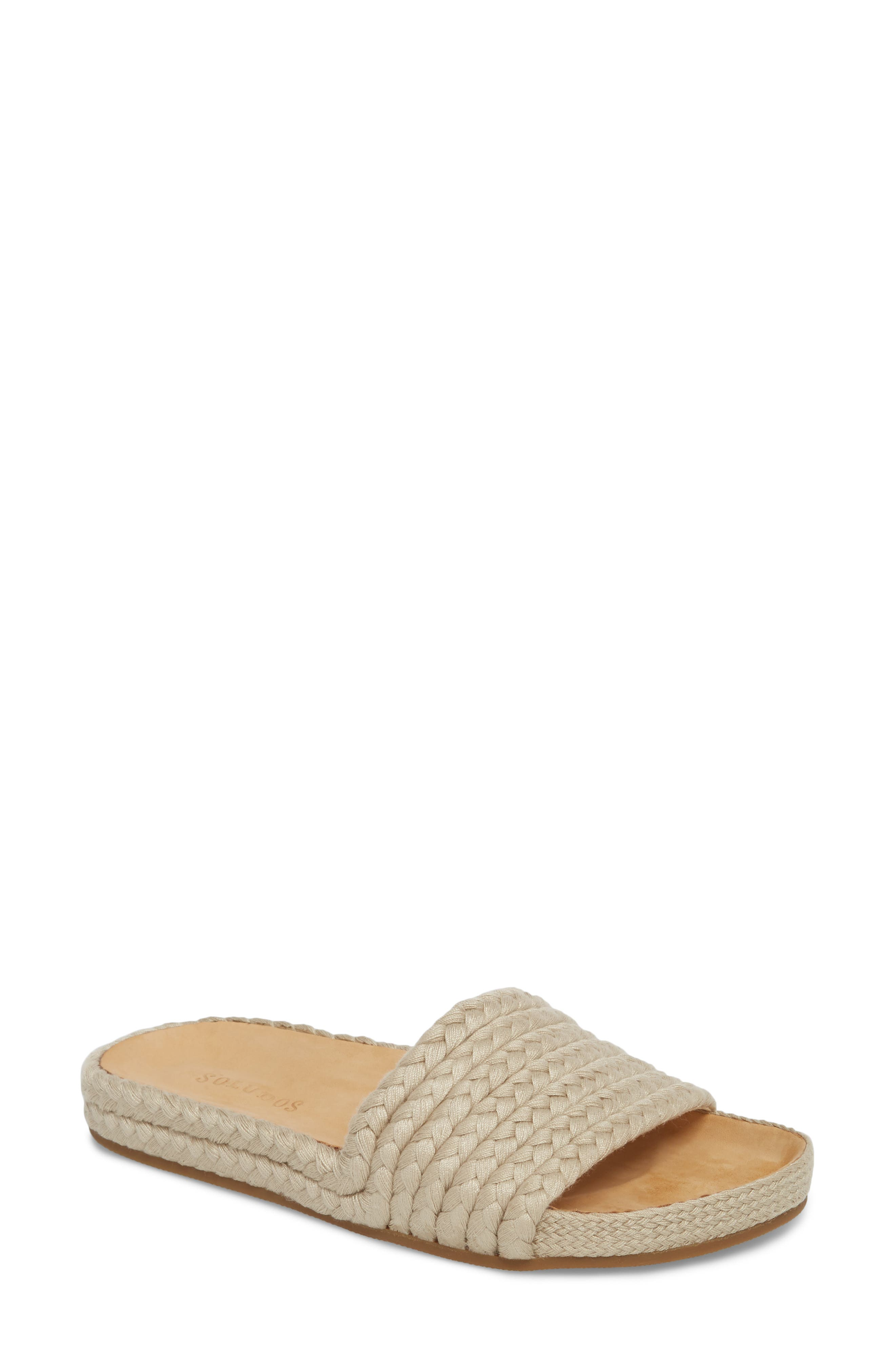 Braided Slide Sandal,                         Main,                         color, Natural Fabric