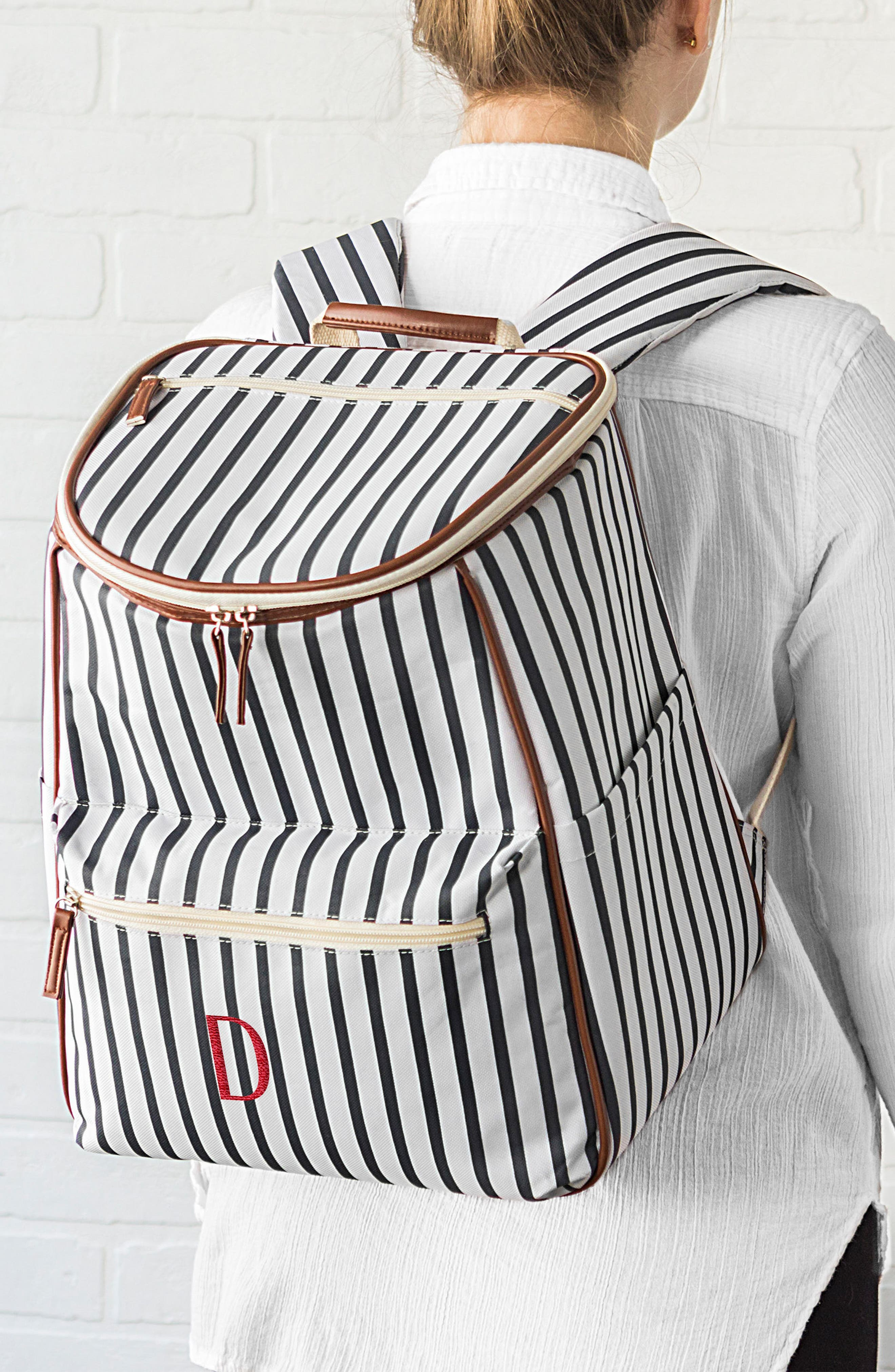 Monogram Stripe Backpack Cooler,                             Alternate thumbnail 6, color,