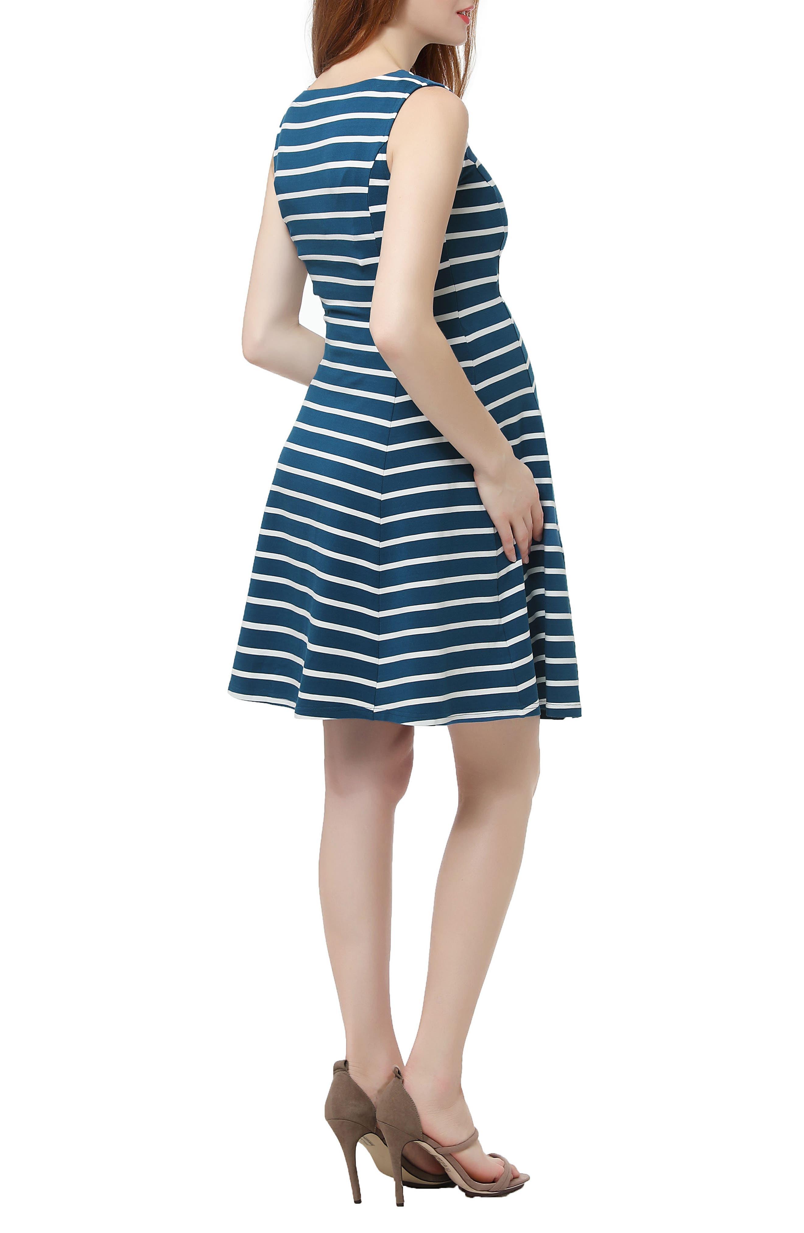 Emilia Stripe Fit & Flare Maternity Dress,                             Alternate thumbnail 2, color,                             Teal/ Ivory