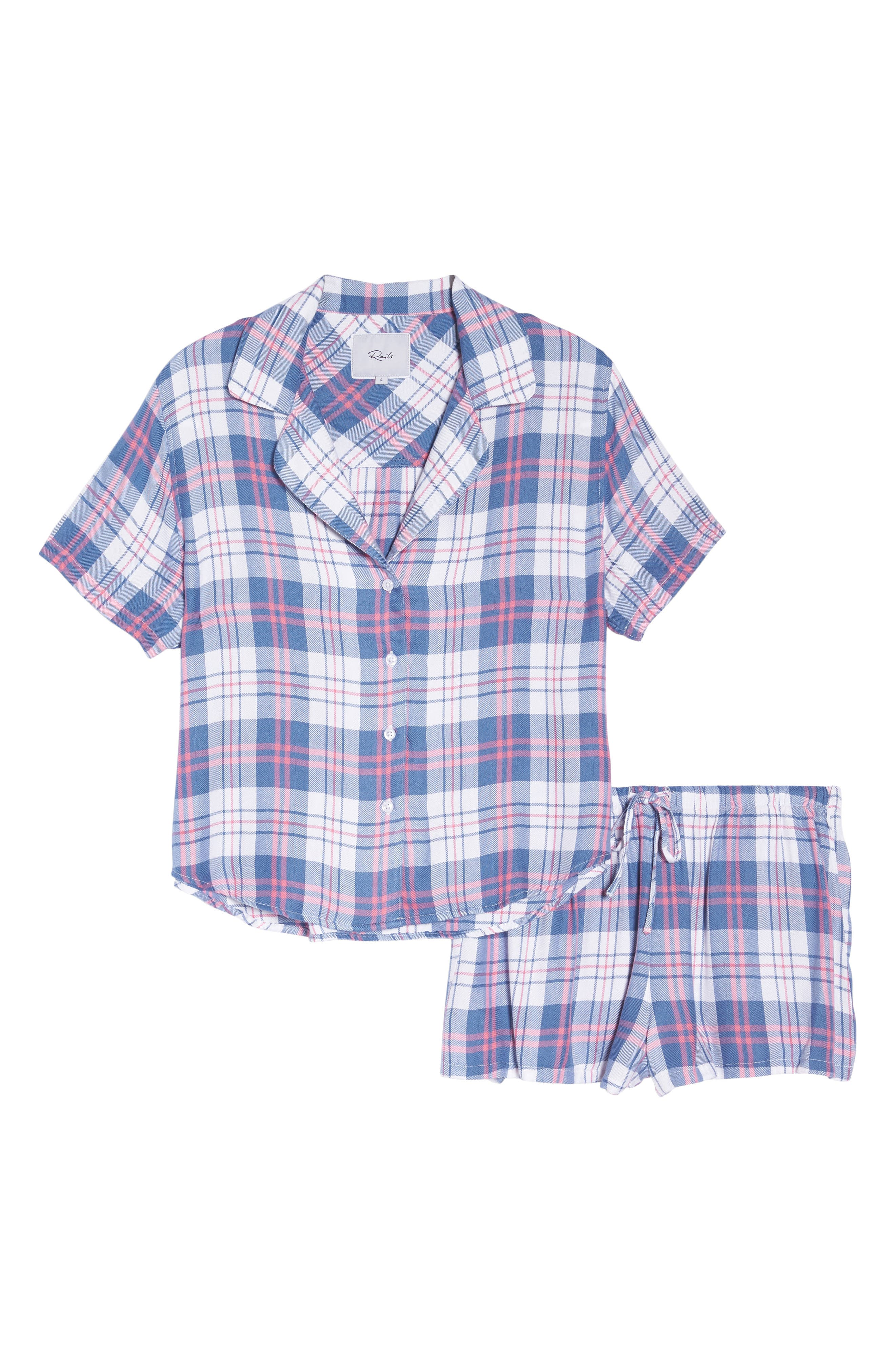 Plaid Short Pajamas,                             Alternate thumbnail 4, color,                             Watermelon Coast White