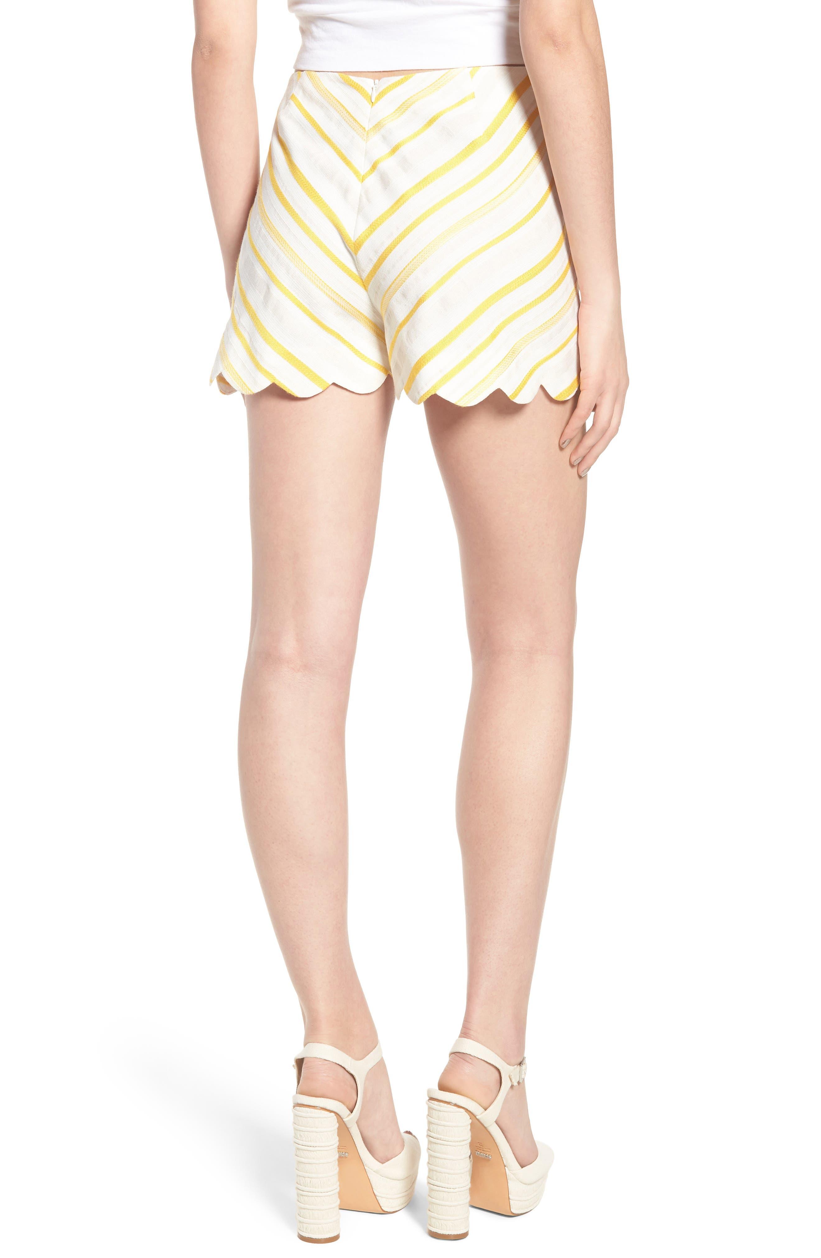 Scallop Shorts,                             Alternate thumbnail 2, color,                             Cream Yellow