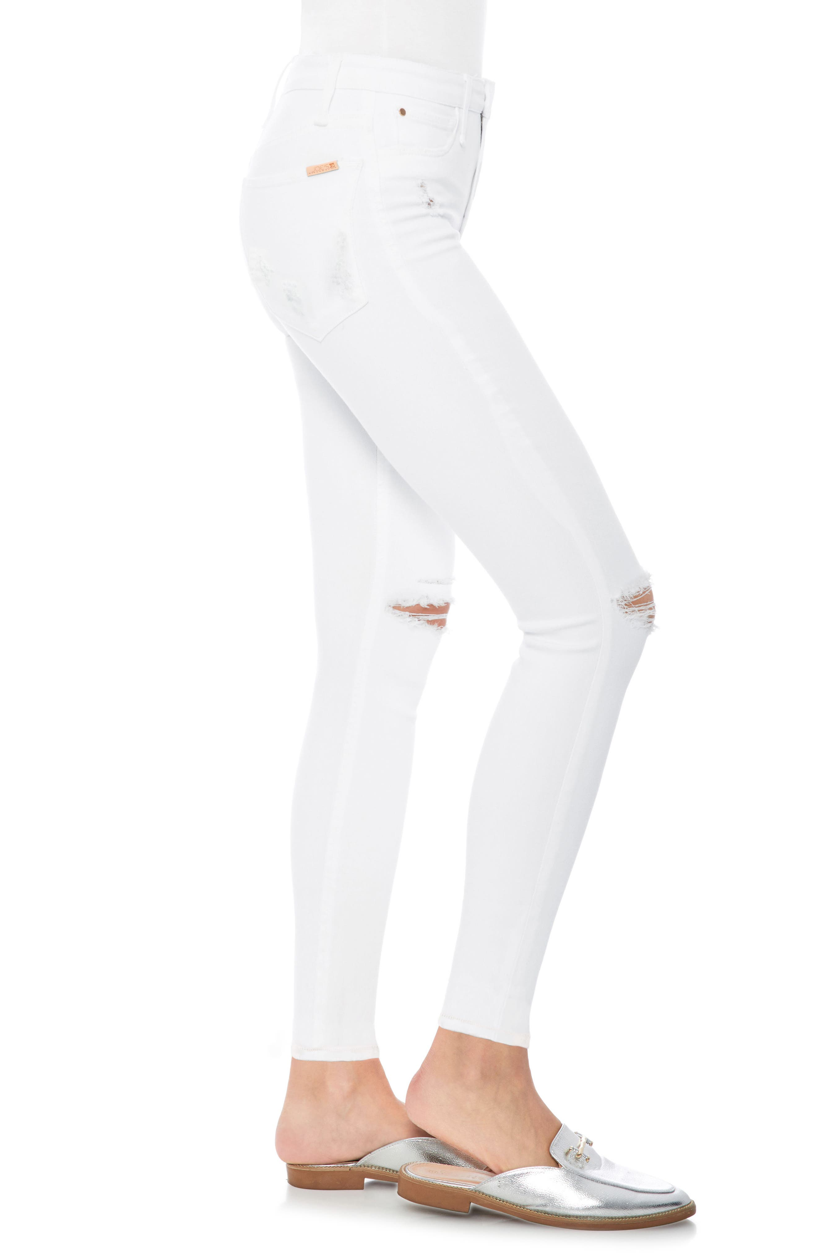 The Charlie Ripped Ankle Skinny Jeans,                             Alternate thumbnail 3, color,                             Gloriya