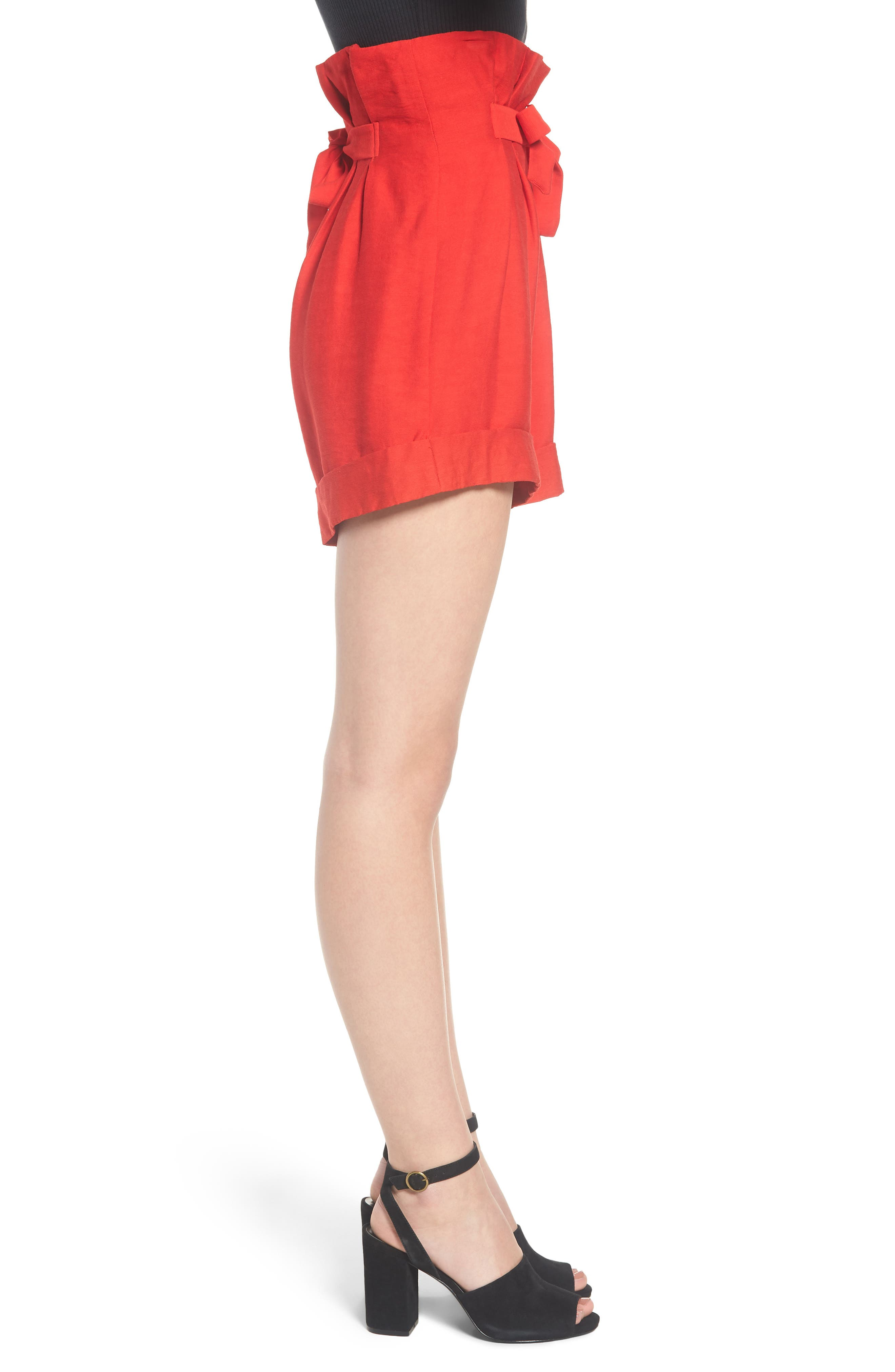 High Waist Short with Tie Detail,                             Alternate thumbnail 4, color,                             Red