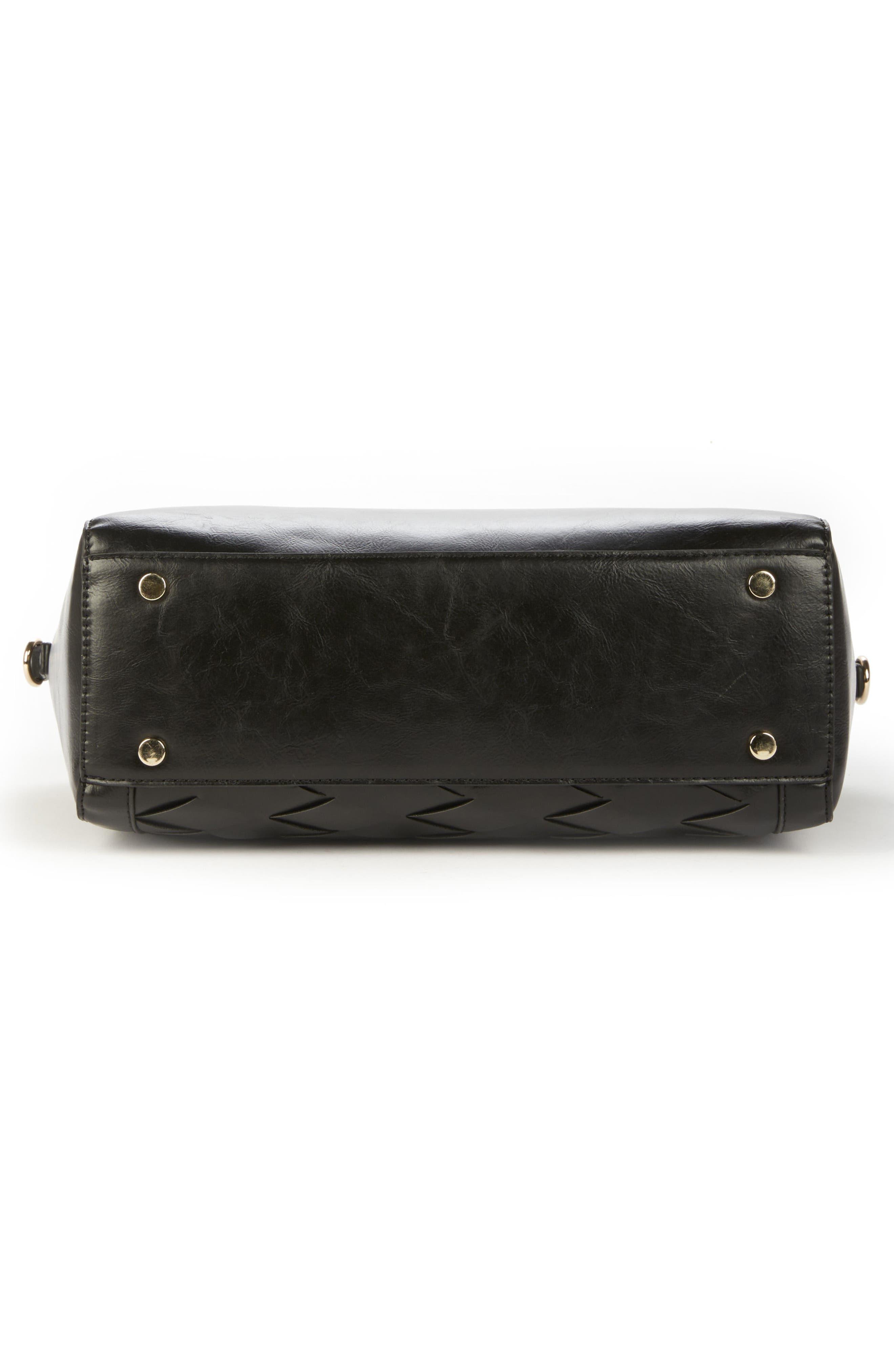 Adrina Faux Leather Satchel,                             Alternate thumbnail 3, color,                             Black