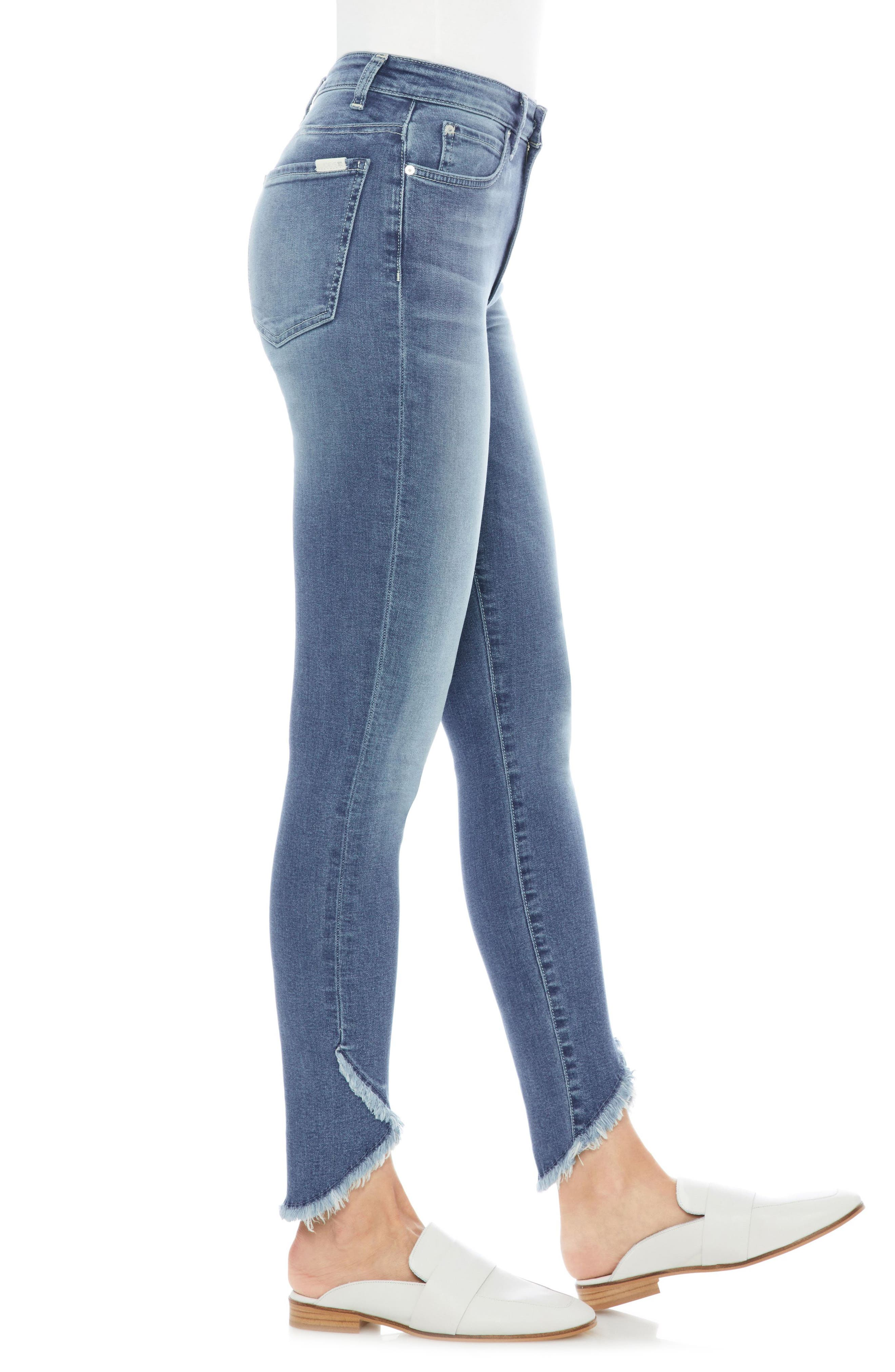 Charlie High Waist Tulip Hem Ankle Skinny Jeans,                             Alternate thumbnail 3, color,                             Juliane
