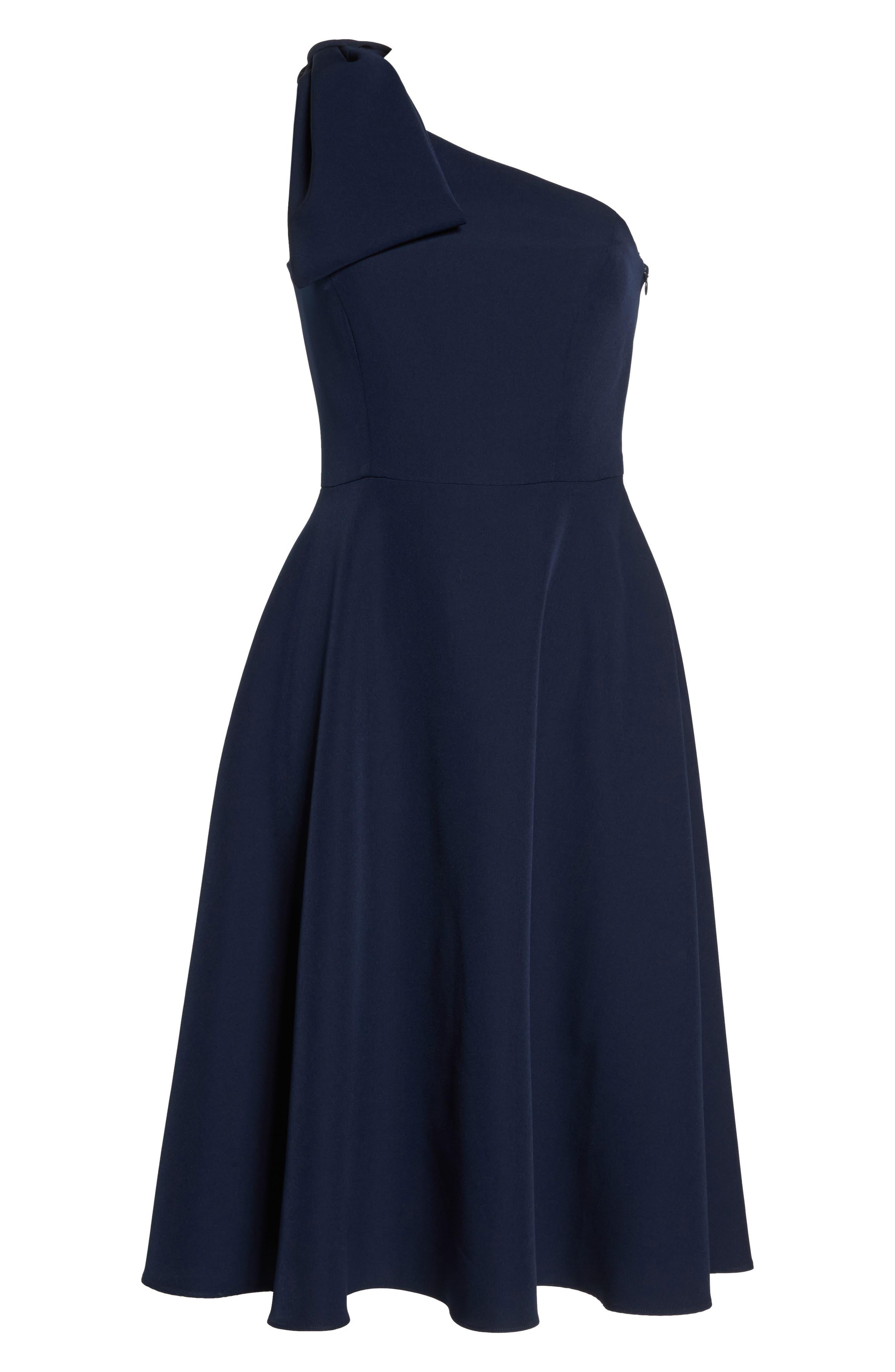 Yvonne Dream Crepe One-Shoulder Dress,                             Alternate thumbnail 8, color,                             Navy