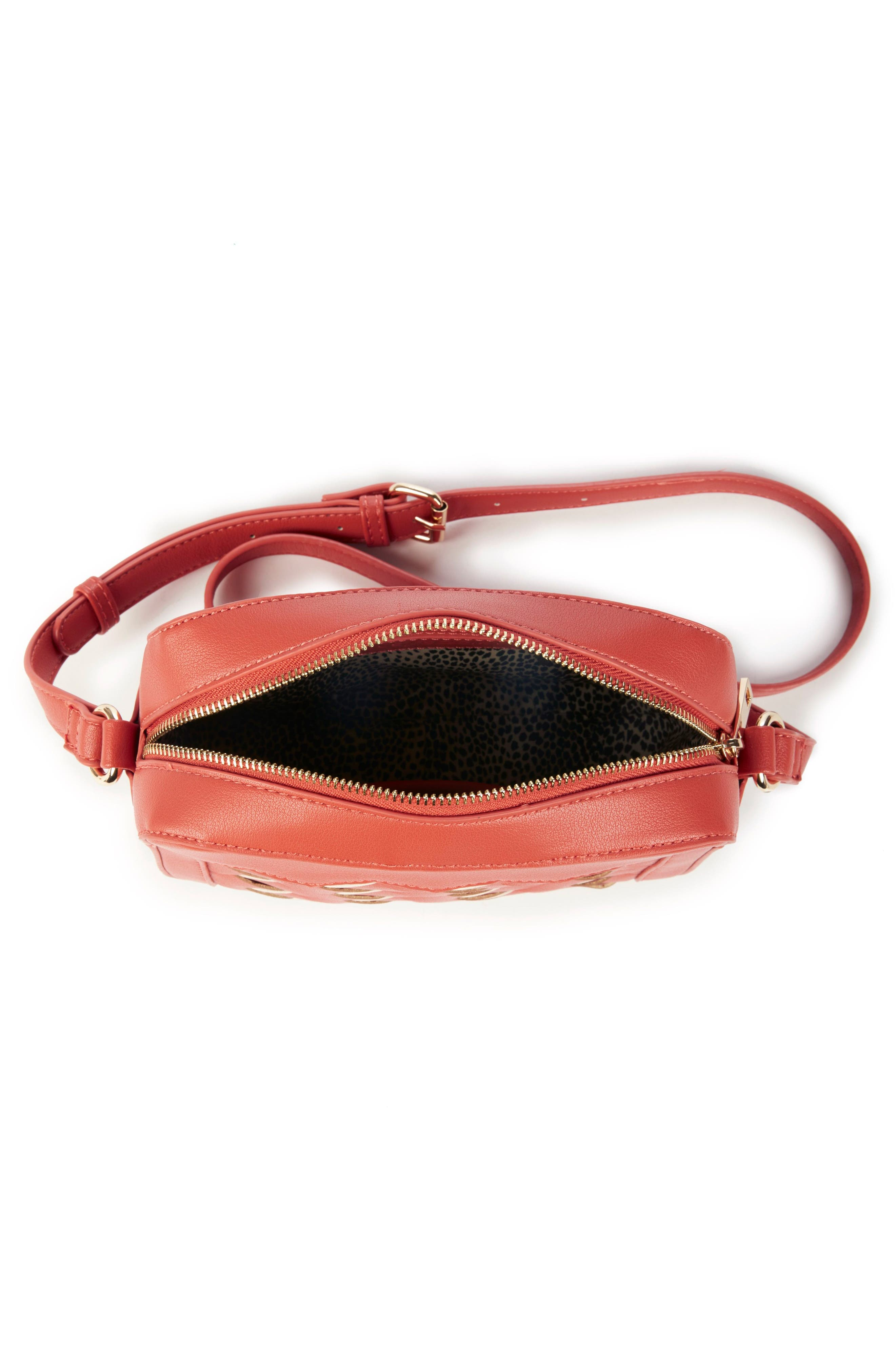 Hand Woven Faux Leather Crossbody Bag,                             Alternate thumbnail 3, color,                             Coral