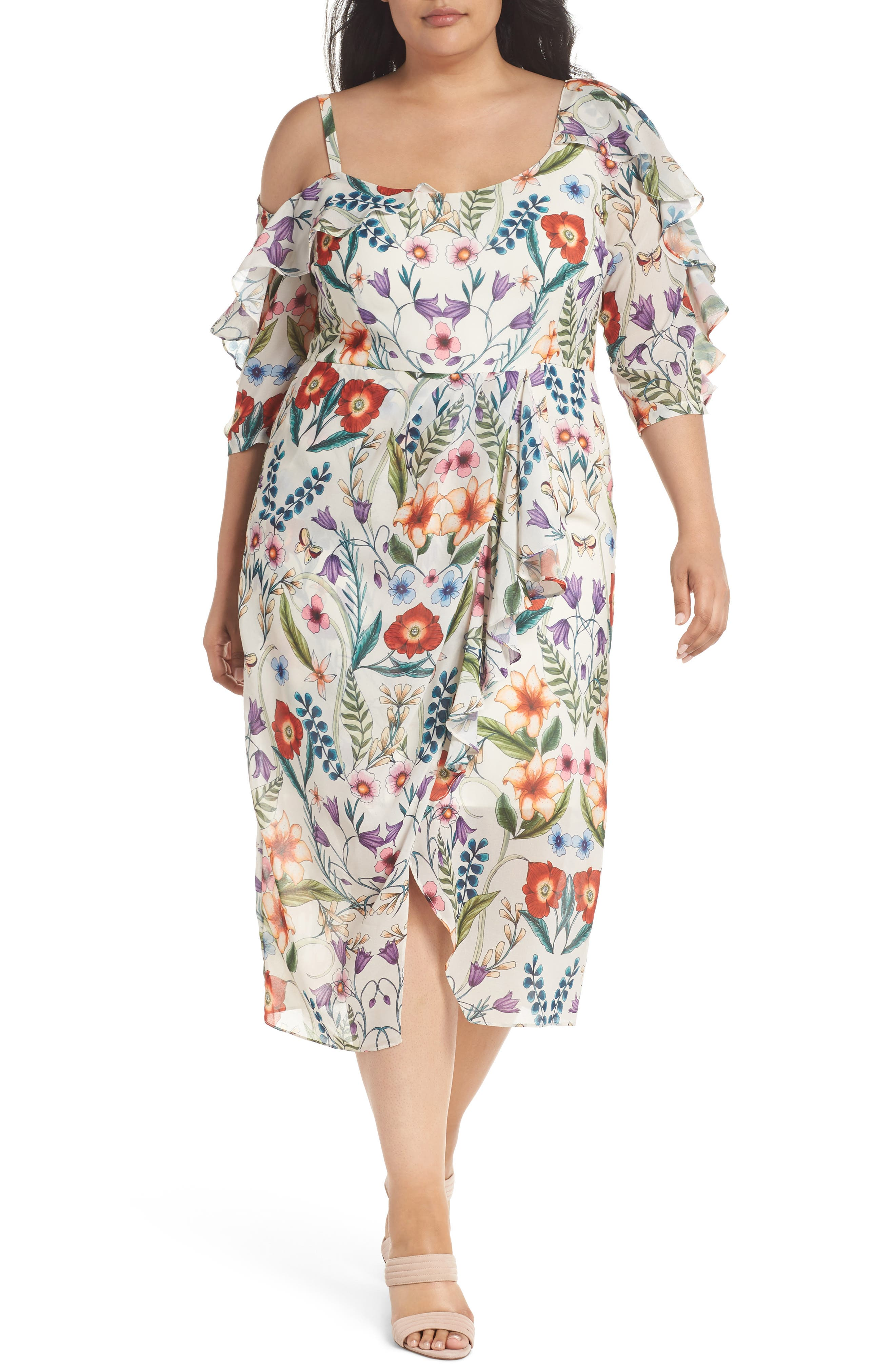 Alternate Image 1 Selected - Cooper St Gardenia Vintage Asymmetrical Dress (Plus Size)