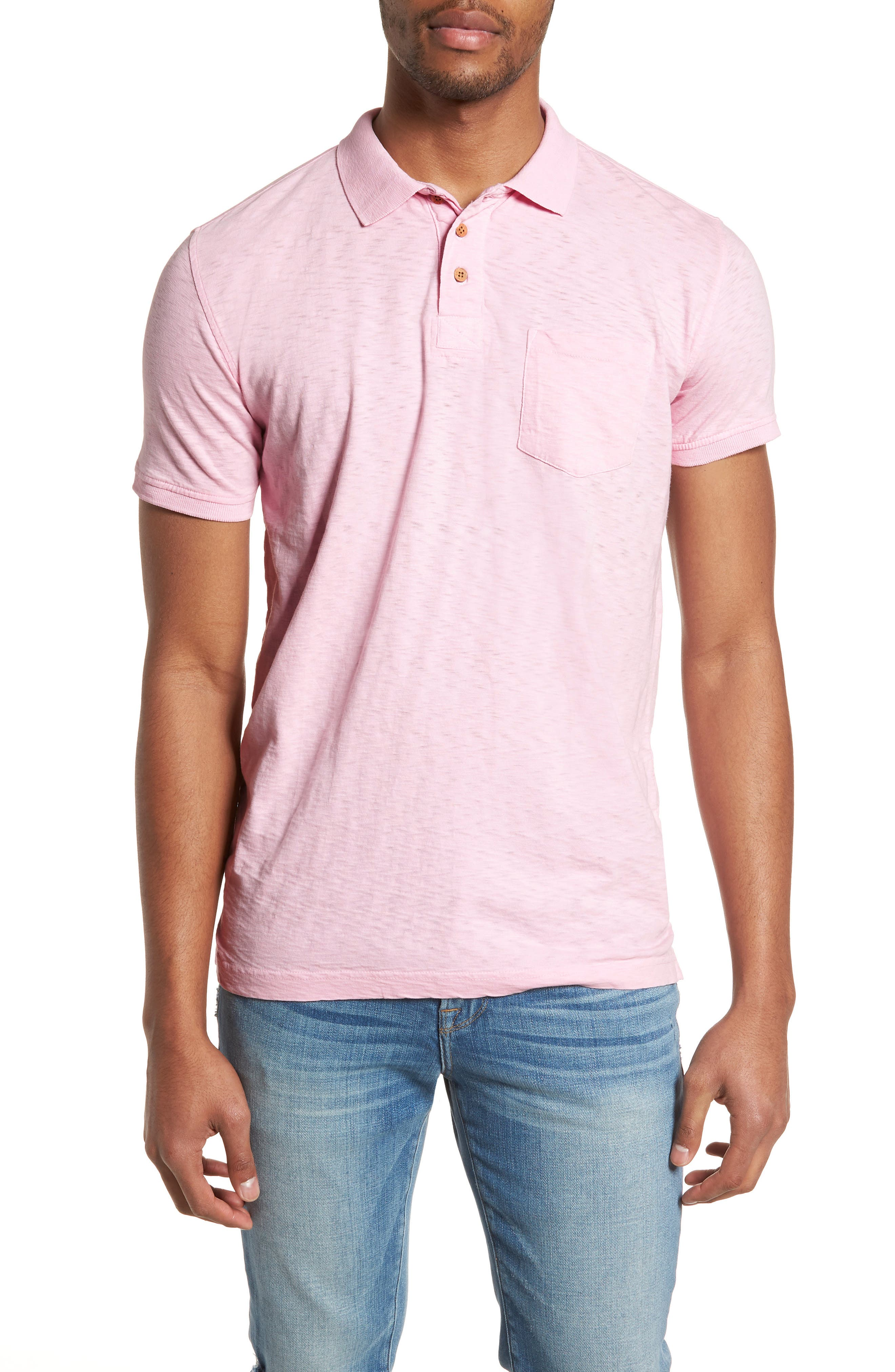 Slub Polo,                         Main,                         color, Pink