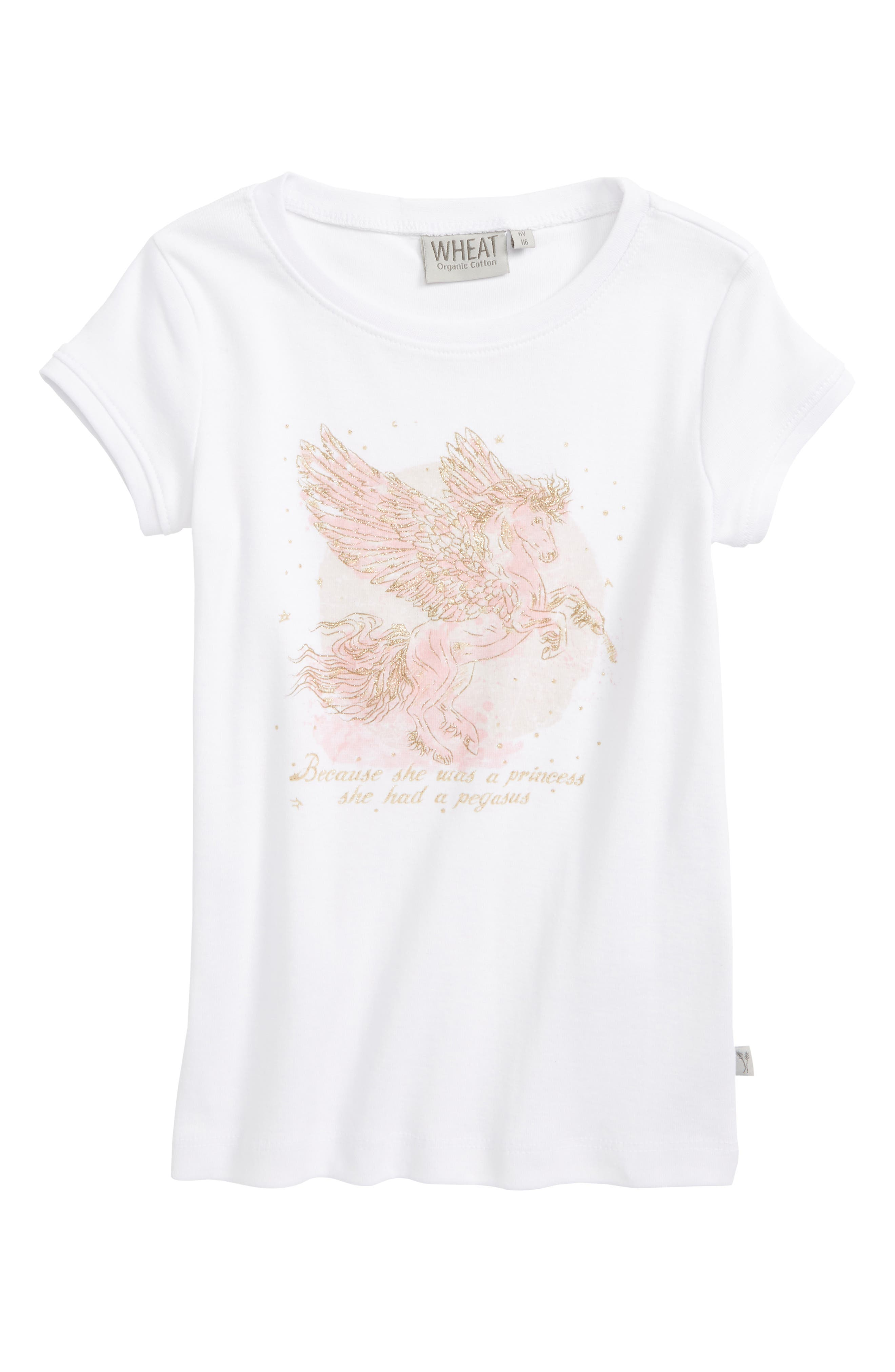 Alternate Image 1 Selected - Wheat Pegasus Organic Cotton Tee (Toddler Girls, Little Girls & Big Girls)