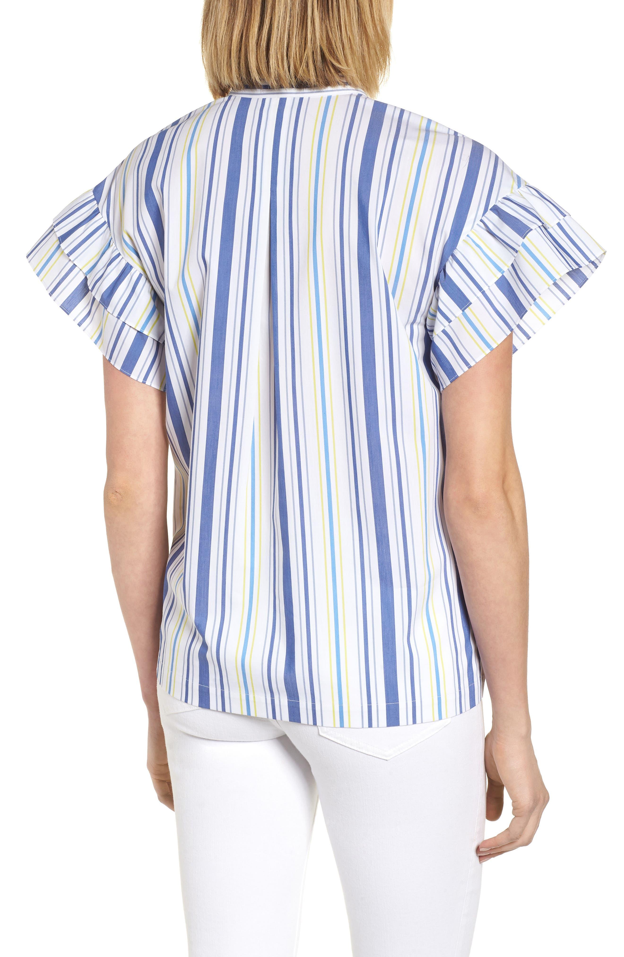 Ruffle Sleeve Stretch Cotton Blend Blouse,                             Alternate thumbnail 2, color,                             White Multi Stripe