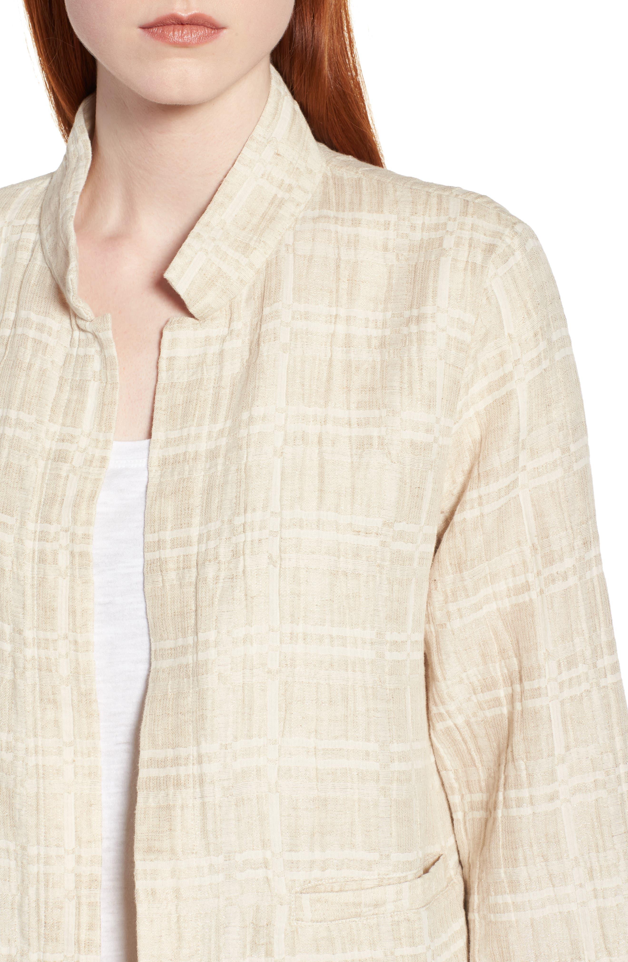Check Organic Cotton & Linen Jacket,                             Alternate thumbnail 4, color,                             Natural
