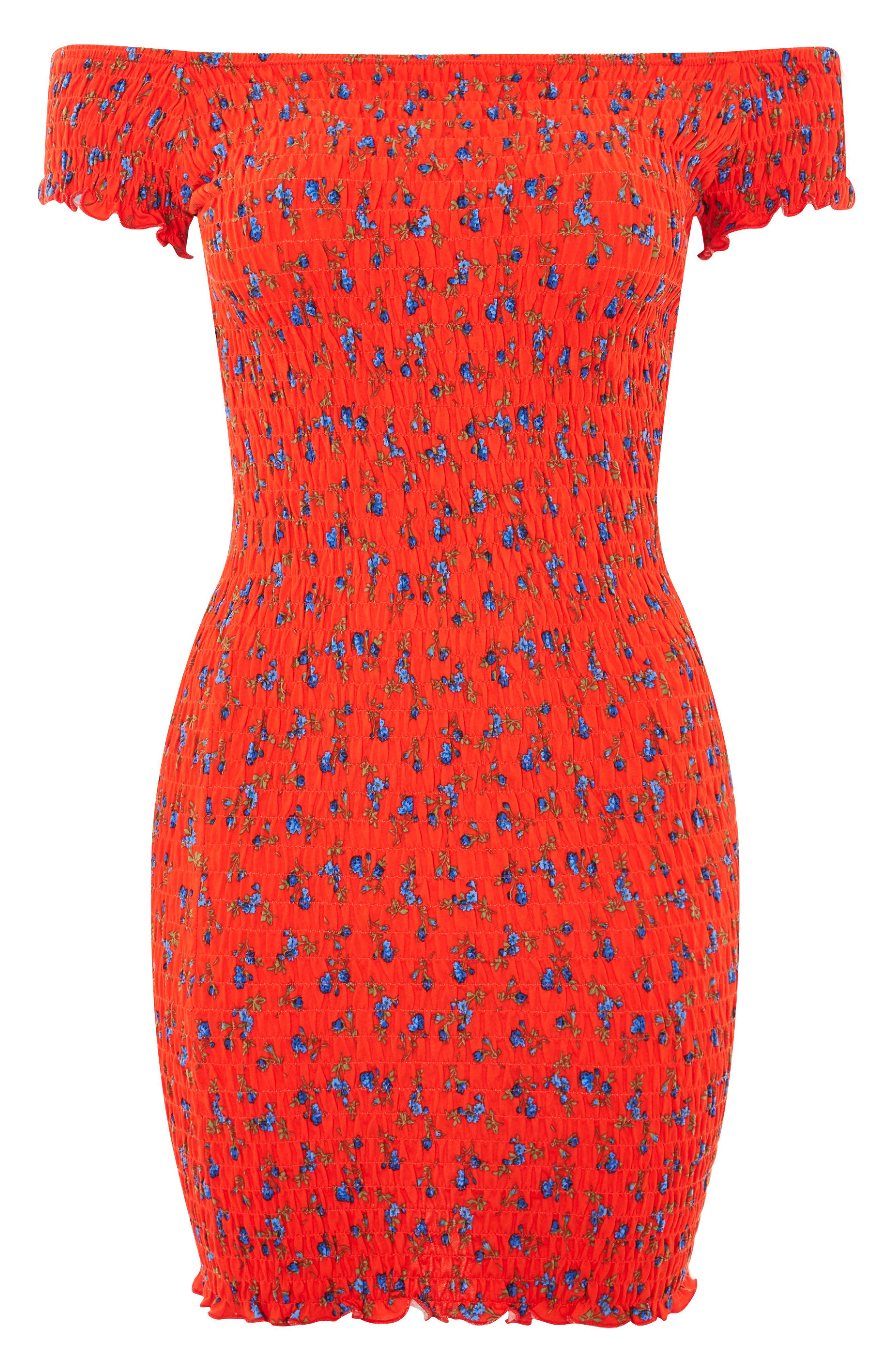 Smocked Ditsy Body-Con Dress,                             Alternate thumbnail 4, color,                             Red Multi