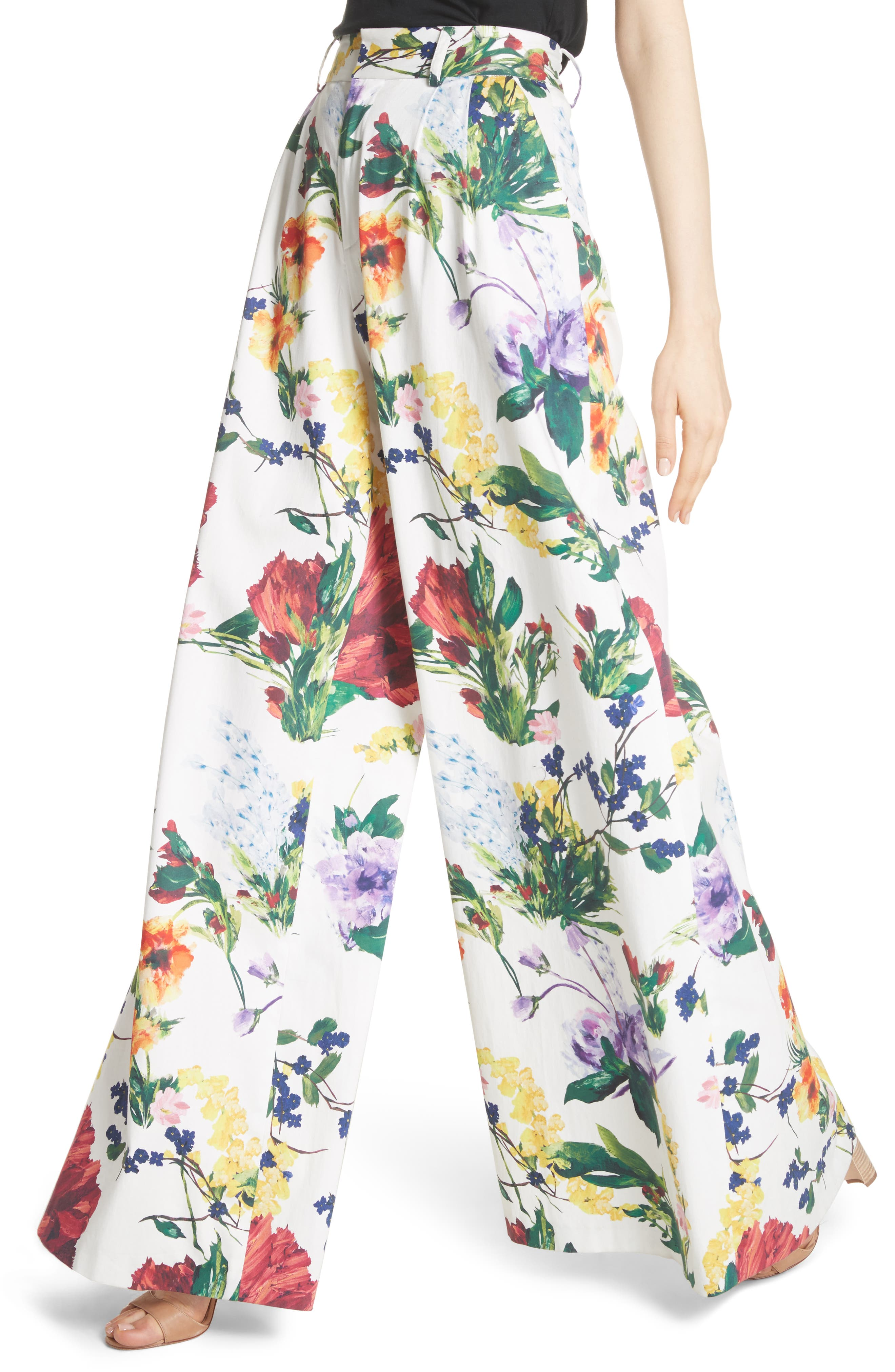 Dustin Floral Flared Pants,                             Alternate thumbnail 4, color,                             Wildflower