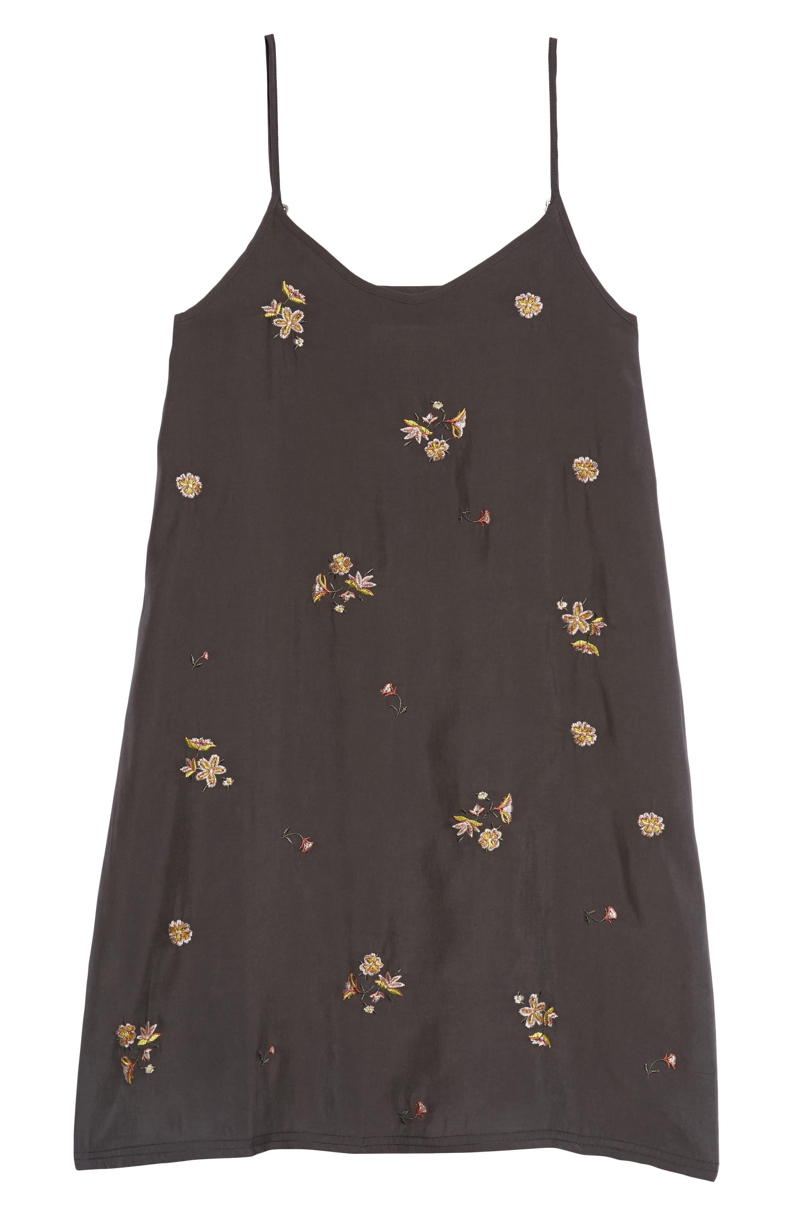 Floral Embroidered Shift Dress,                             Main thumbnail 1, color,                             Black Raven Organic Floral