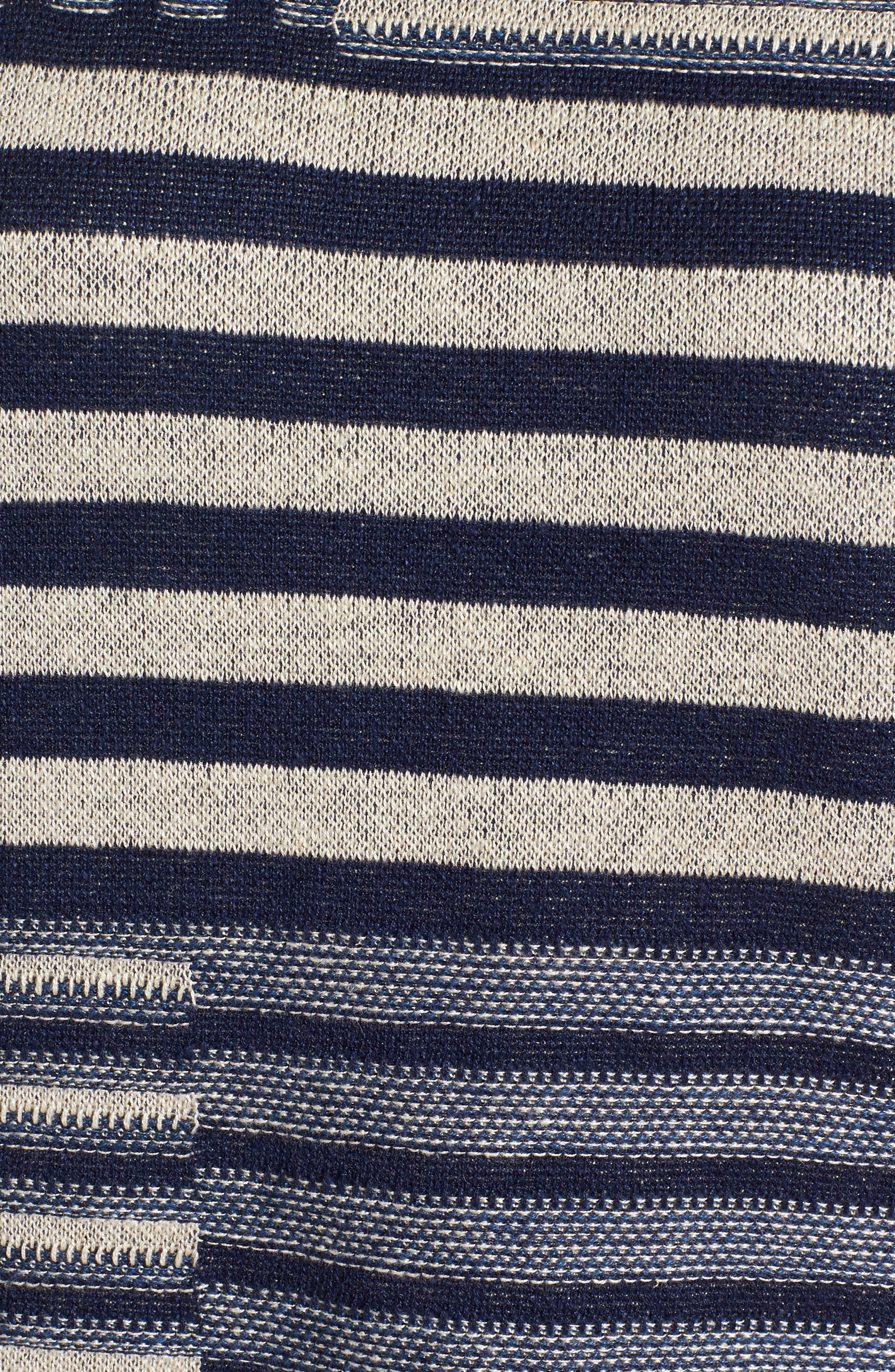 Mixed Stripe Organic Linen Top,                             Alternate thumbnail 6, color,                             Denim