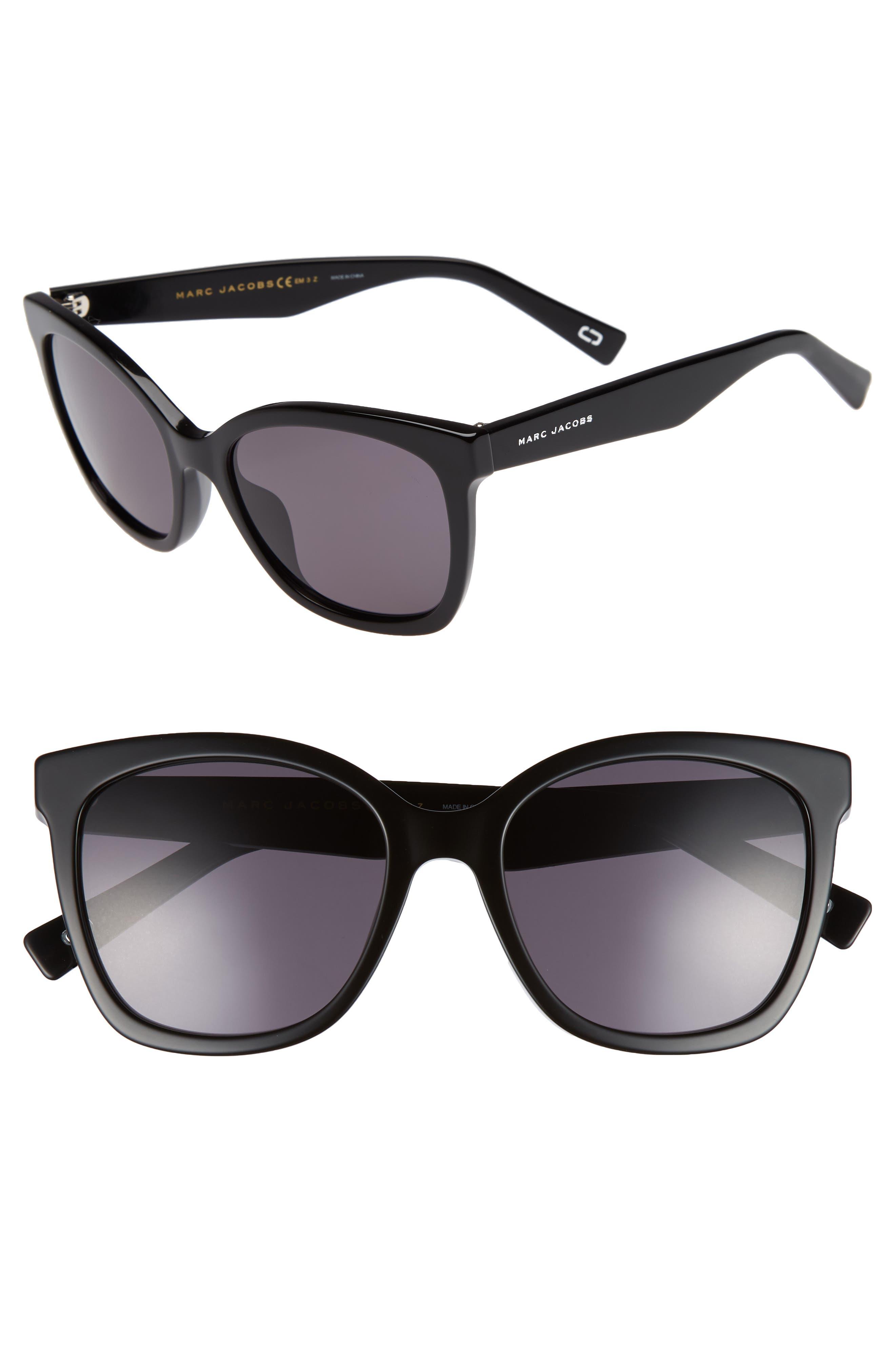 54mm Gradient Lens Sunglasses,                             Main thumbnail 1, color,                             Black Polar