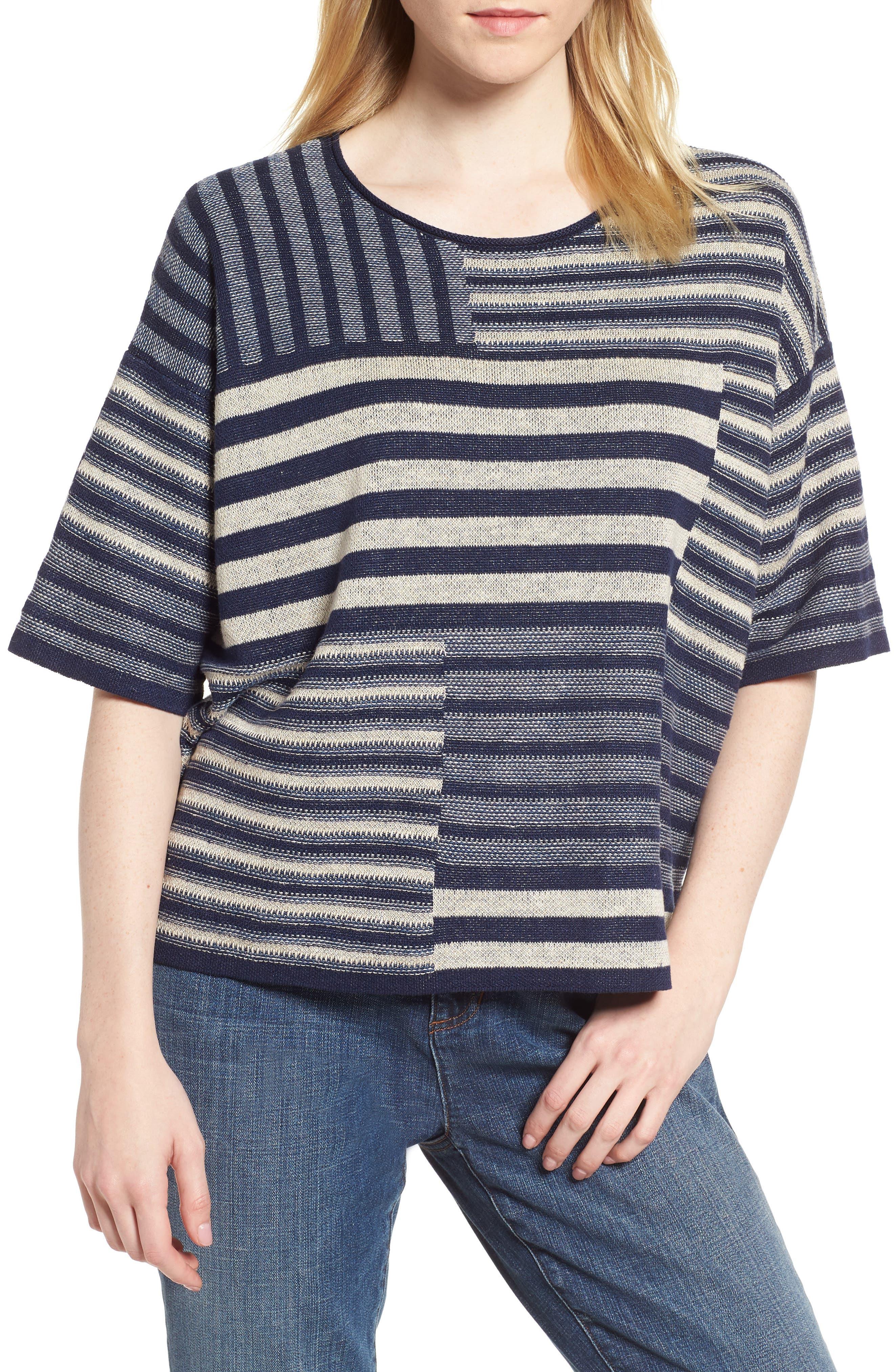 Mixed Stripe Organic Linen Top,                             Main thumbnail 1, color,                             Denim