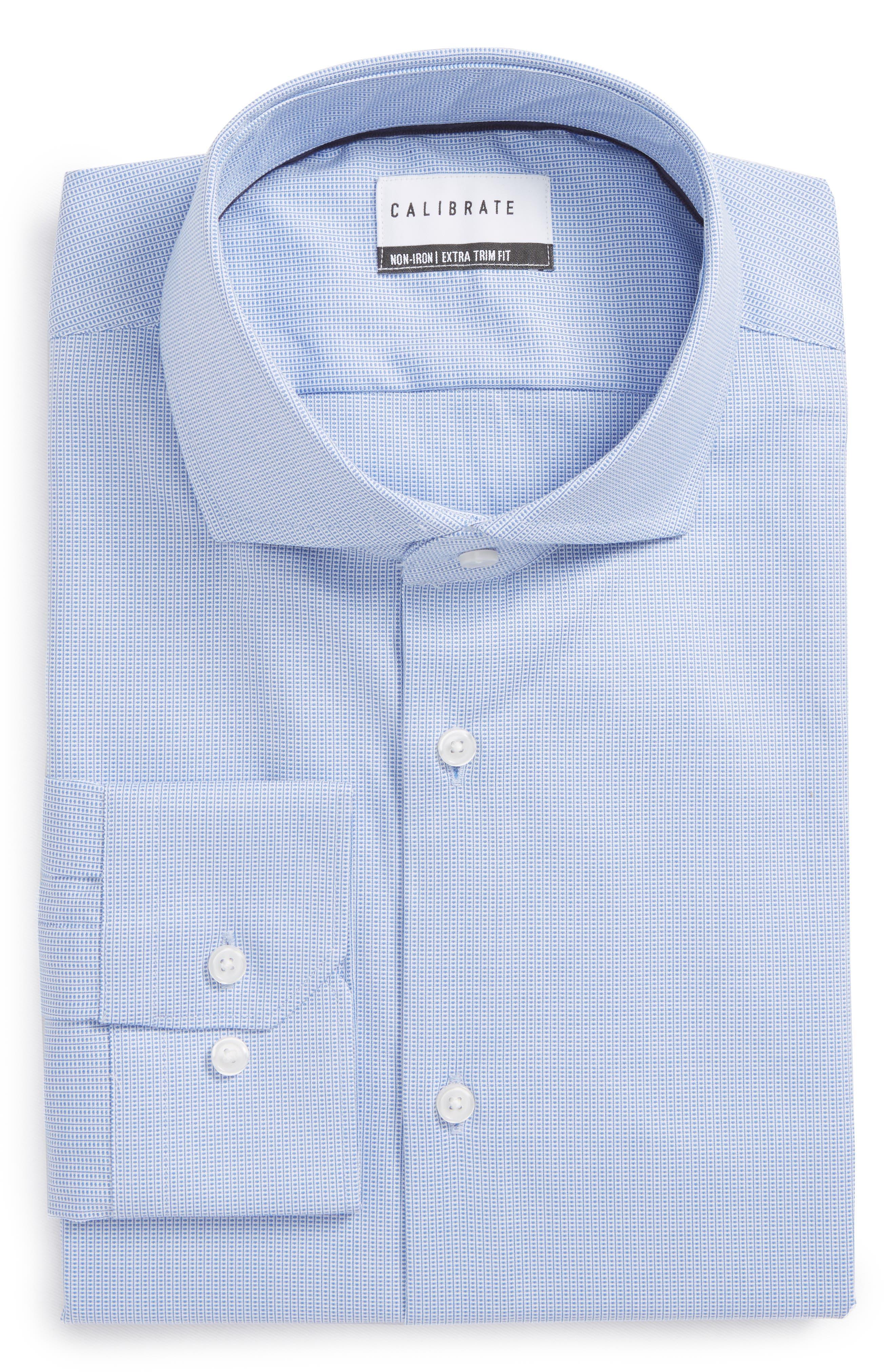 Extra Trim Fit Non-Iron Dress Shirt,                         Main,                         color, Blue Azurite
