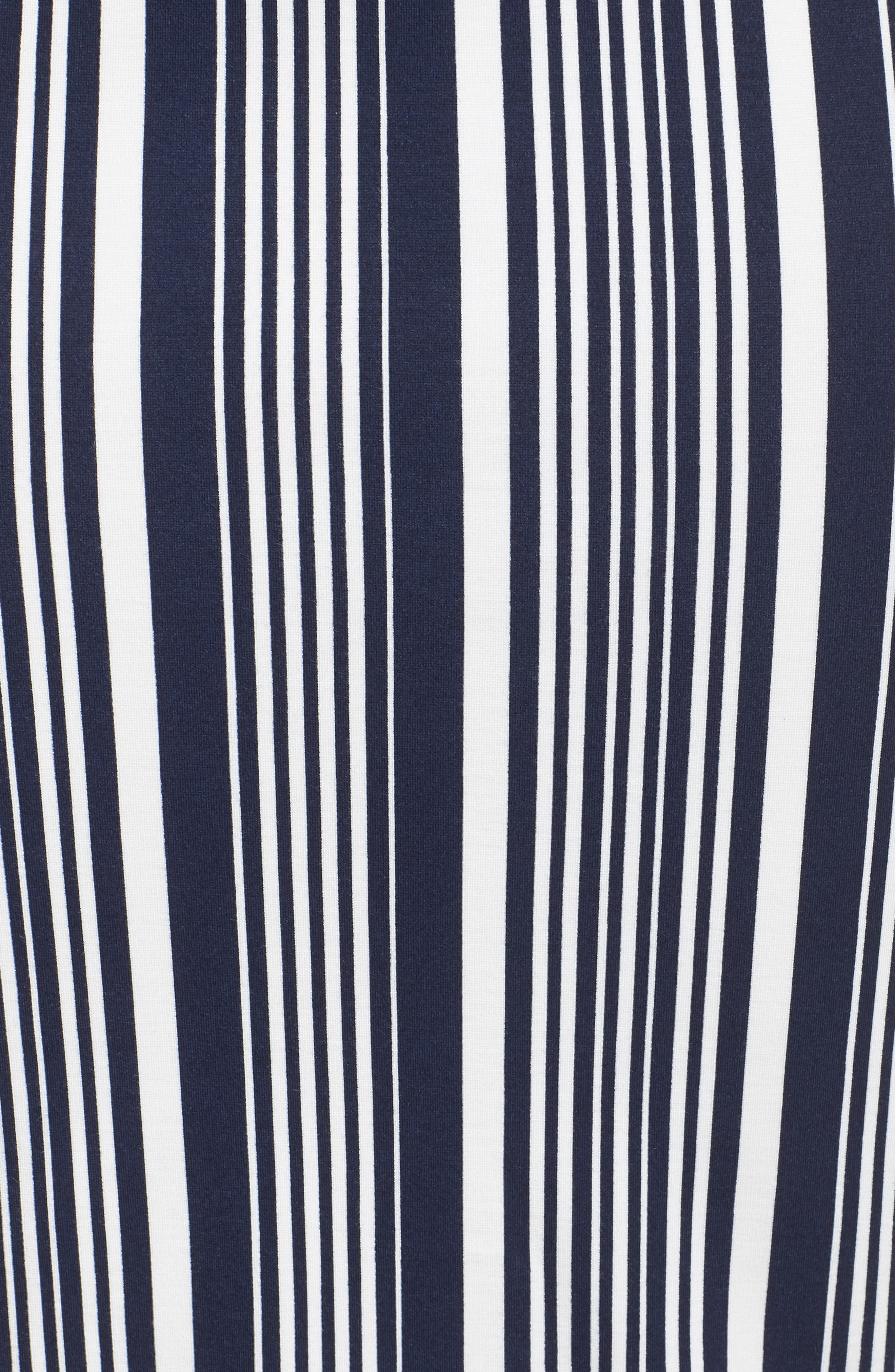 Stripe Ponte Pencil Skirt,                             Alternate thumbnail 5, color,                             Navy Alexis Stripe