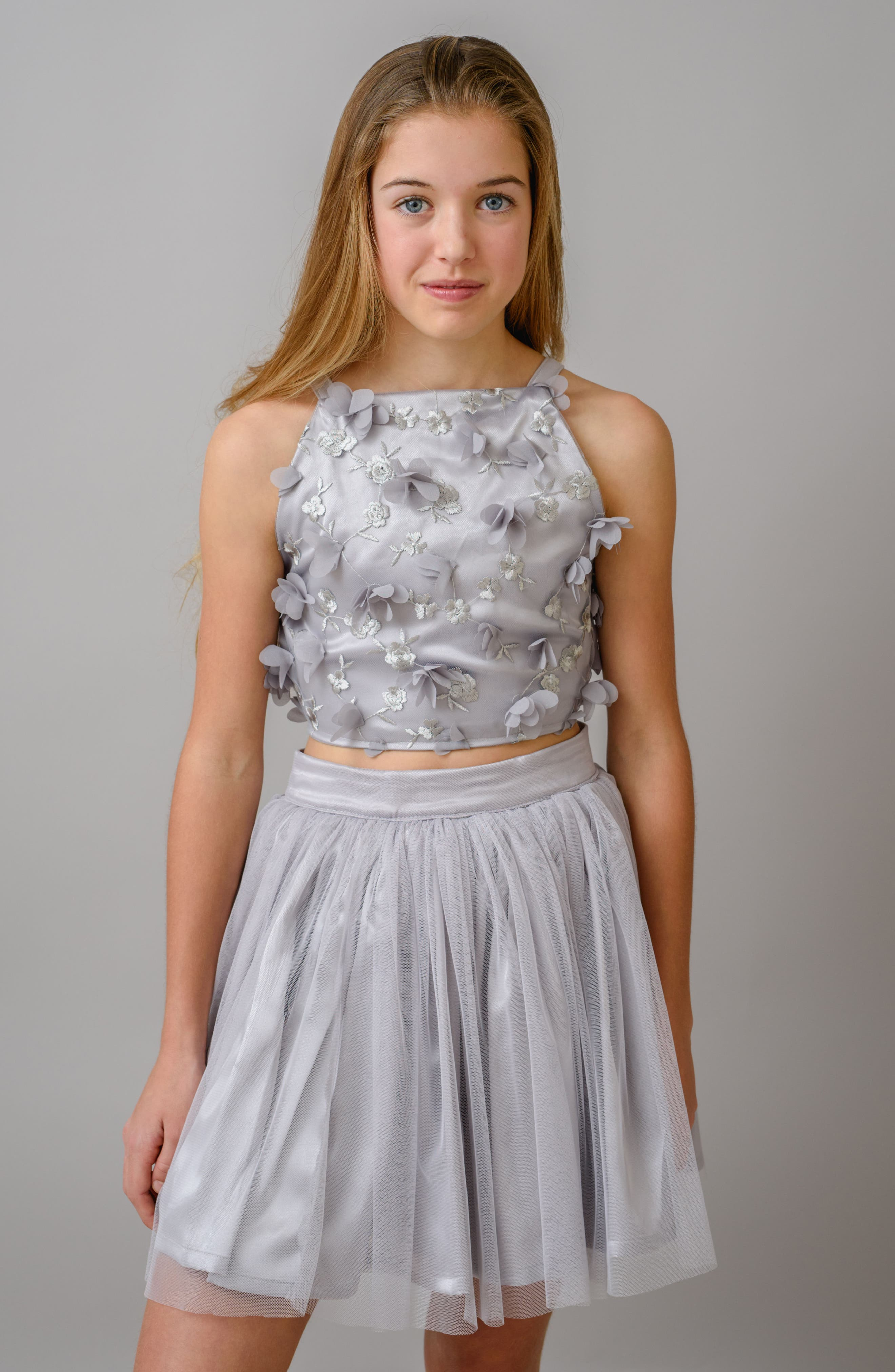 Stella M'Lia 3D Tulle Two-Piece Dress,                             Alternate thumbnail 5, color,