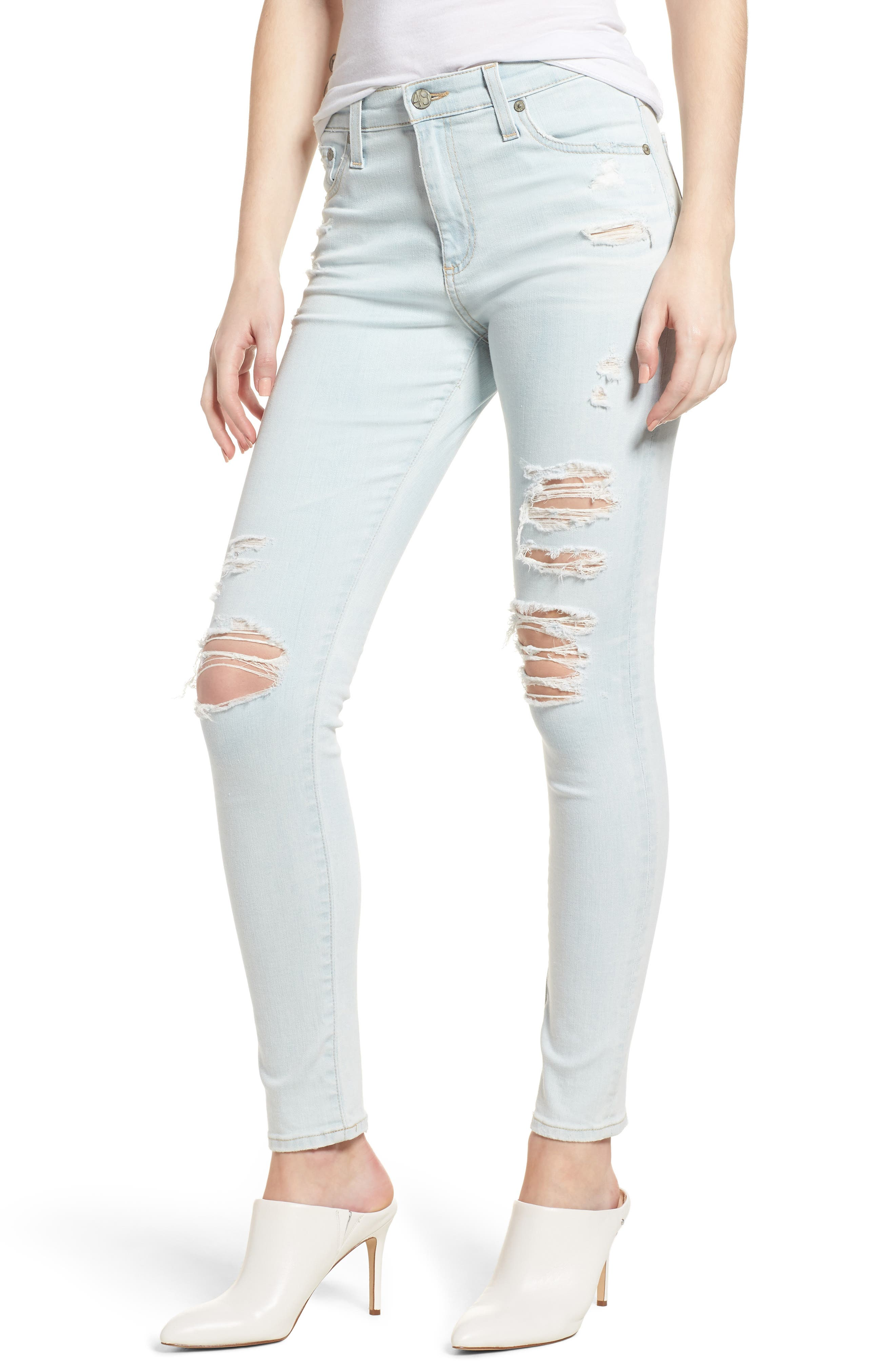 The Farrah Ripped High Waist Ankle Skinny Jeans,                             Main thumbnail 1, color,                             30 Years Wild Abandon