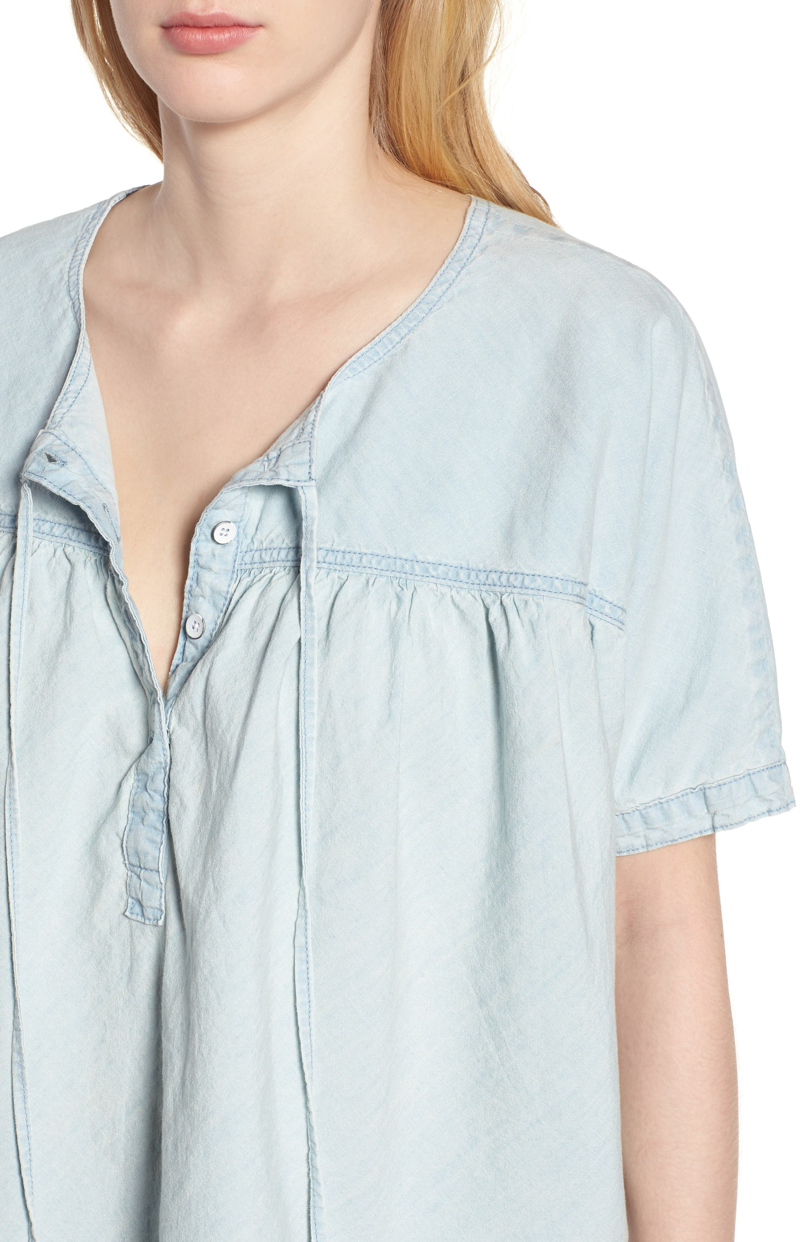 Tie Neck Chambray Top,                             Alternate thumbnail 4, color,                             Pelican Lake