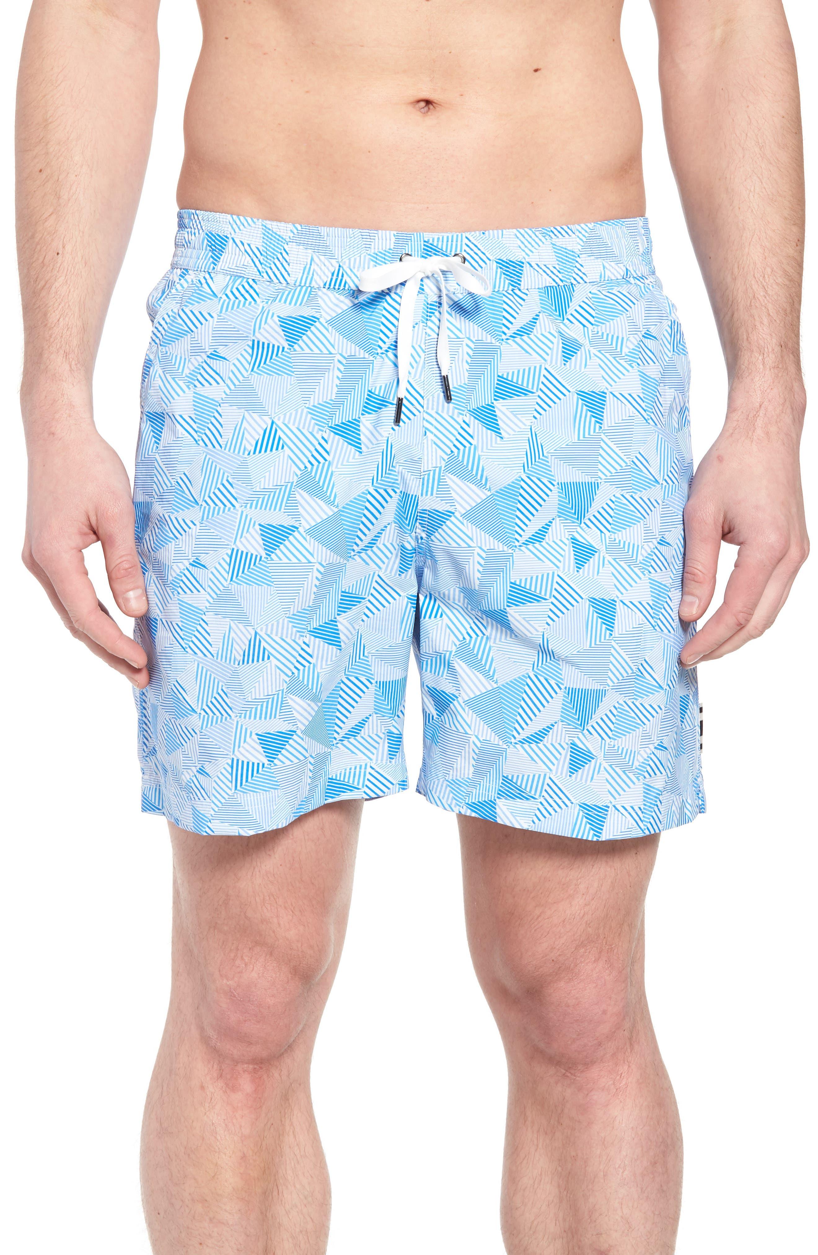 Print Swim Trunks,                         Main,                         color, Light Blue