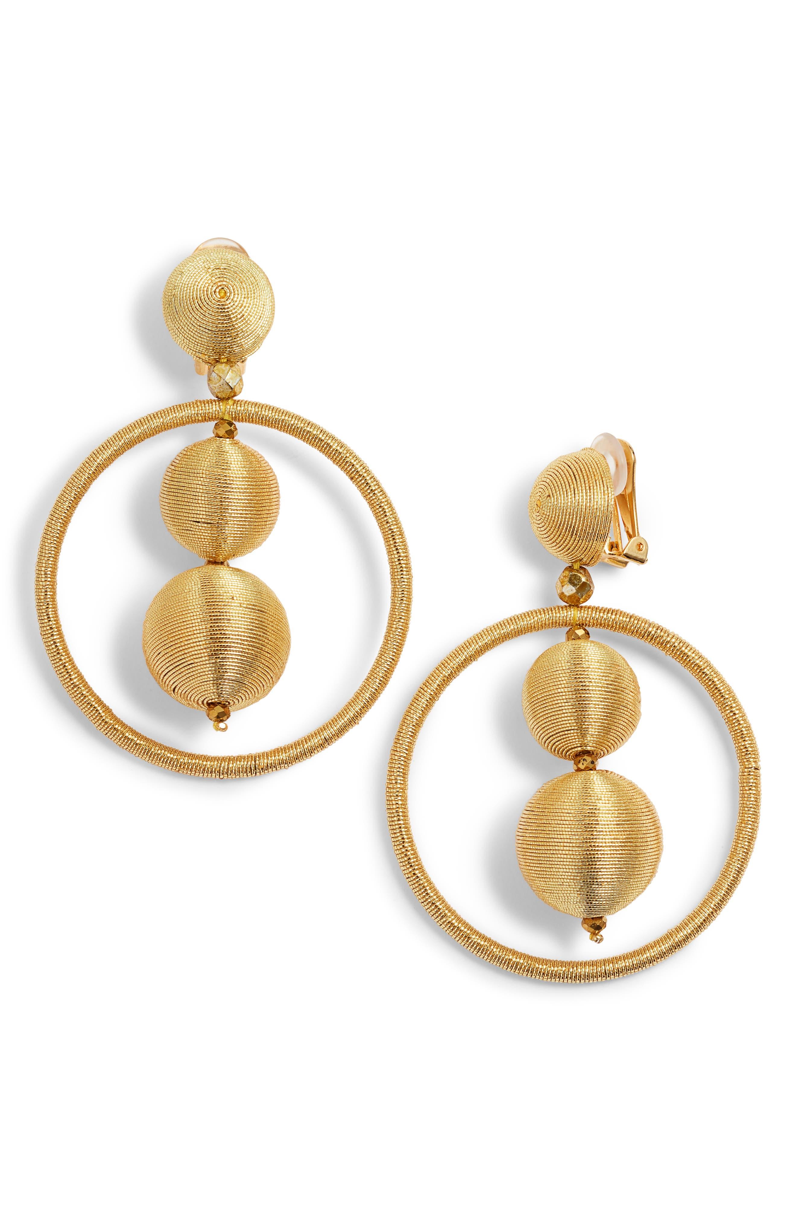 Oscar de la Renta Double Beaded Ball Hoop Clip-On Earrings