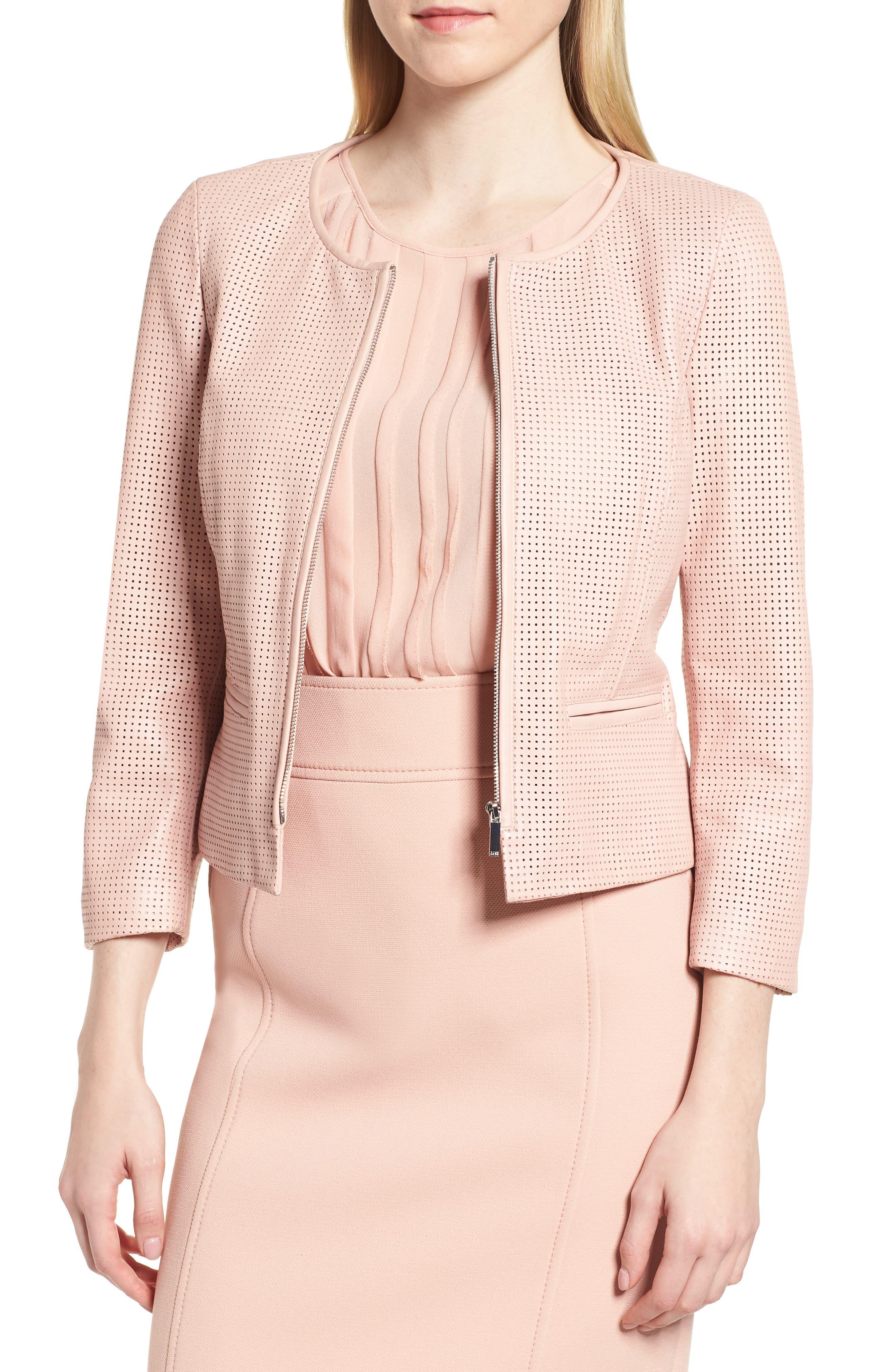 Sallotina Perforated Leather Jacket,                         Main,                         color, Blush