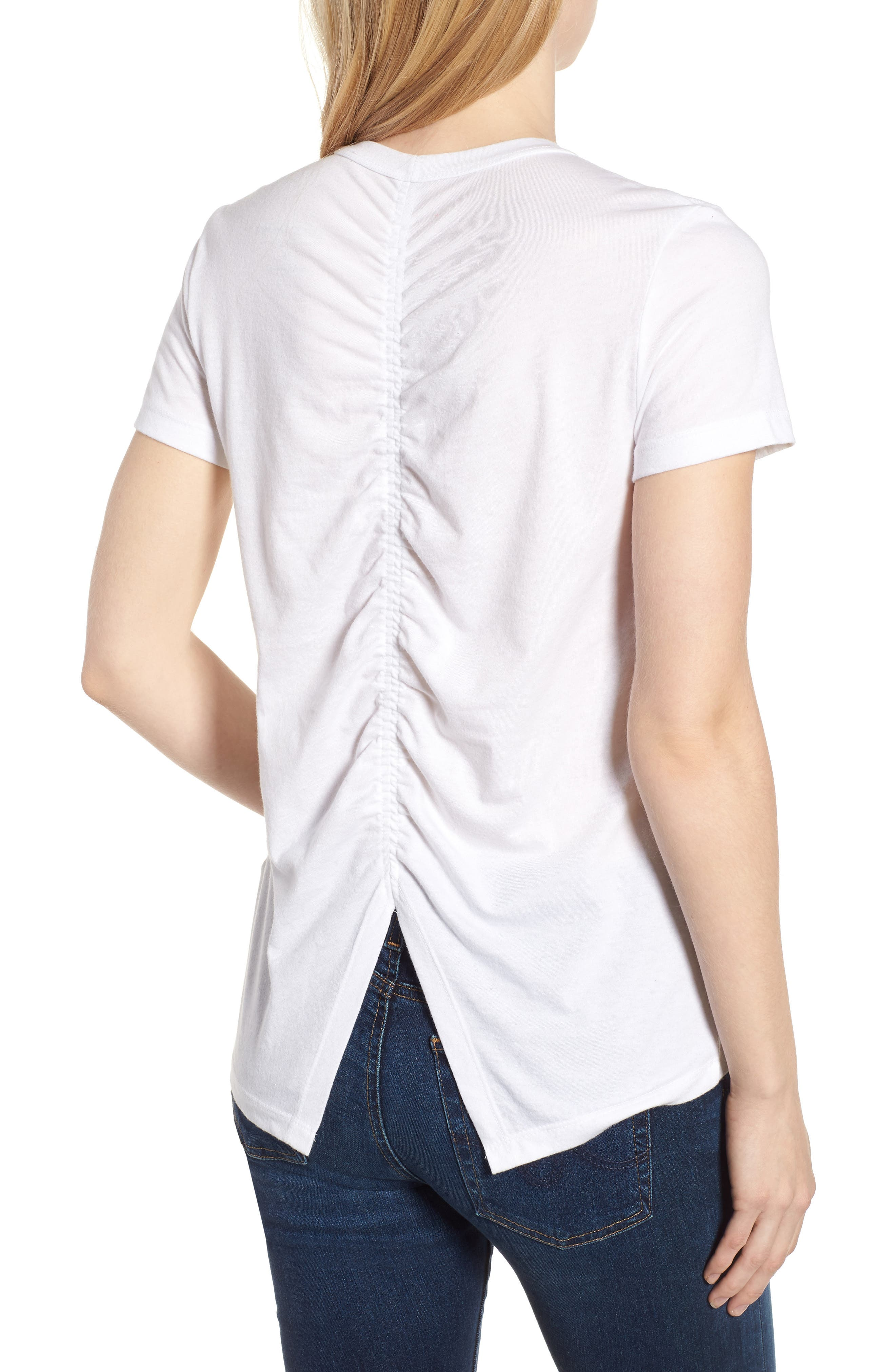 Ruched Back Flag Tee,                             Alternate thumbnail 2, color,                             Lucky White