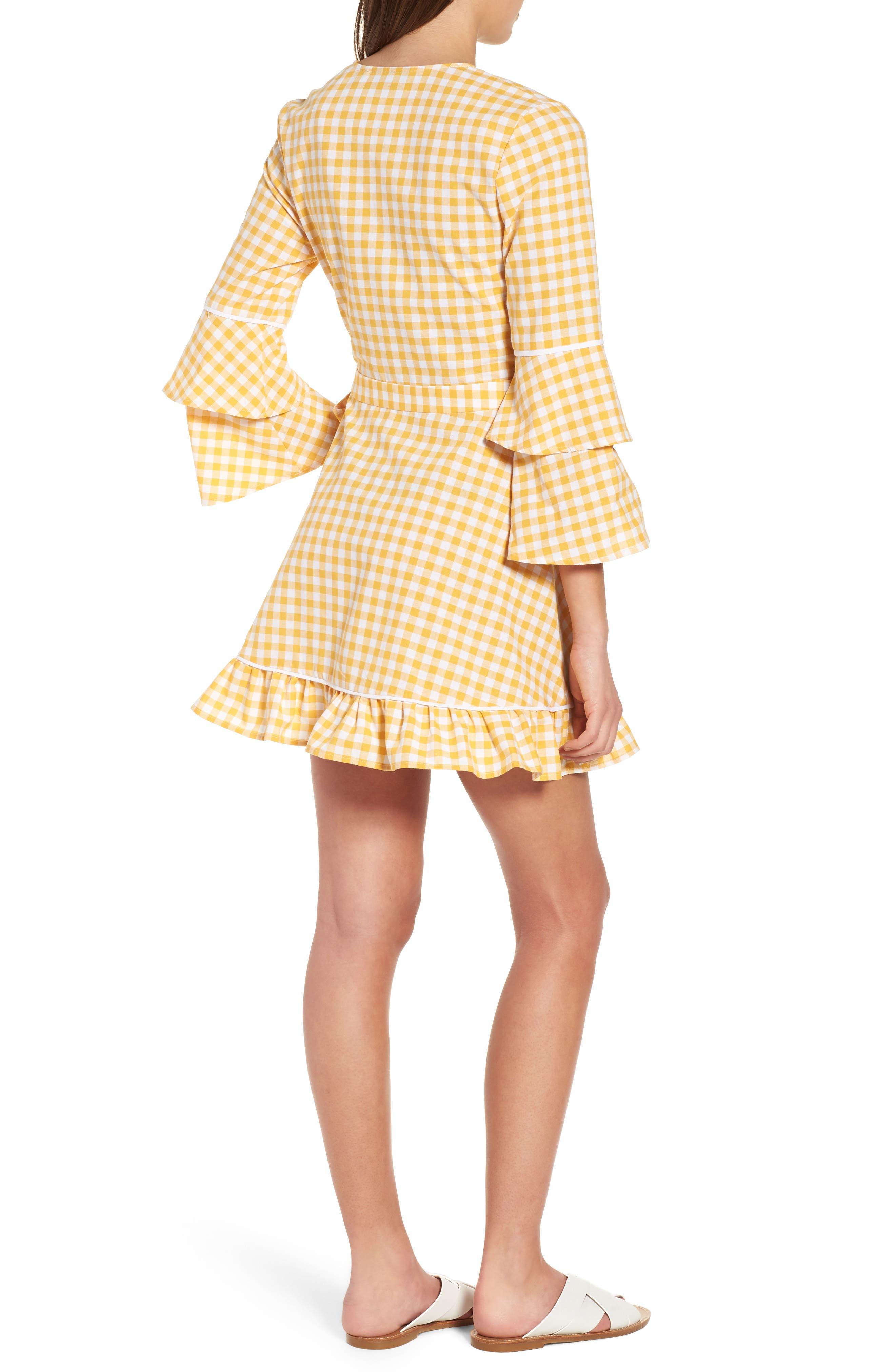 Idyllic Gingham Ruffle Dress,                             Alternate thumbnail 2, color,                             Buttercup