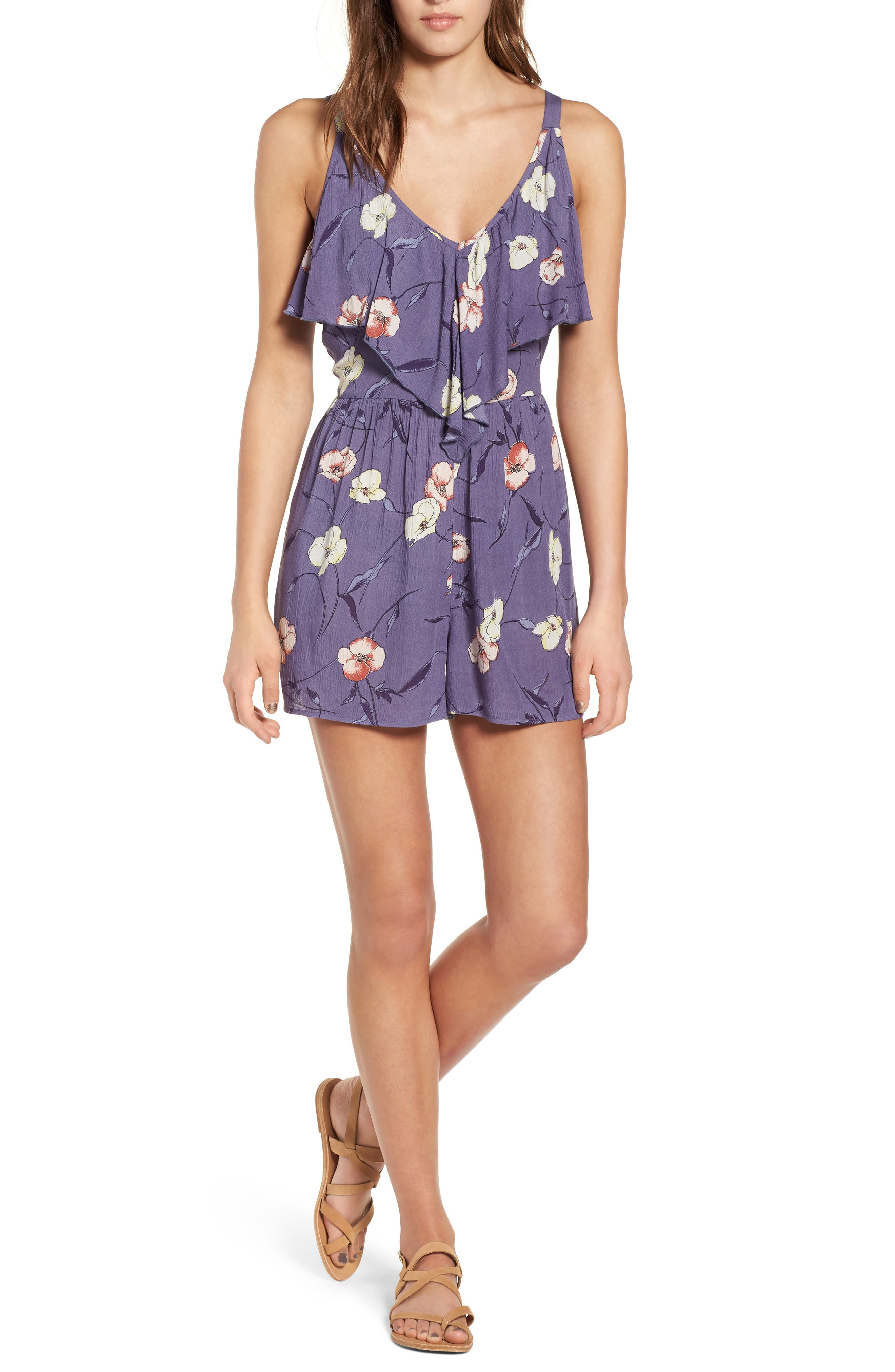 Floral Print Ruffle Front Romper,                             Main thumbnail 1, color,                             Indigo Blue