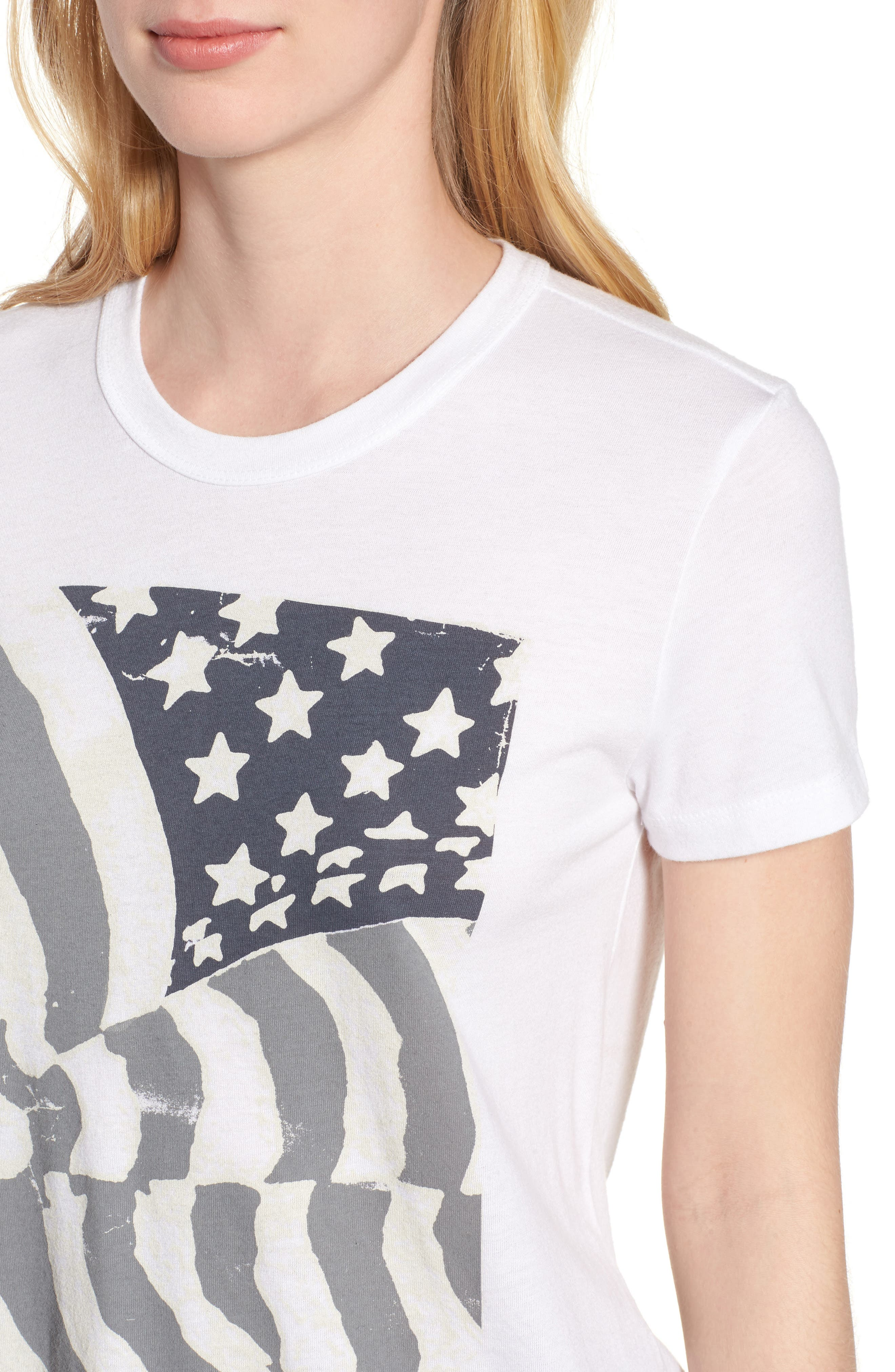 Ruched Back Flag Tee,                             Alternate thumbnail 4, color,                             Lucky White