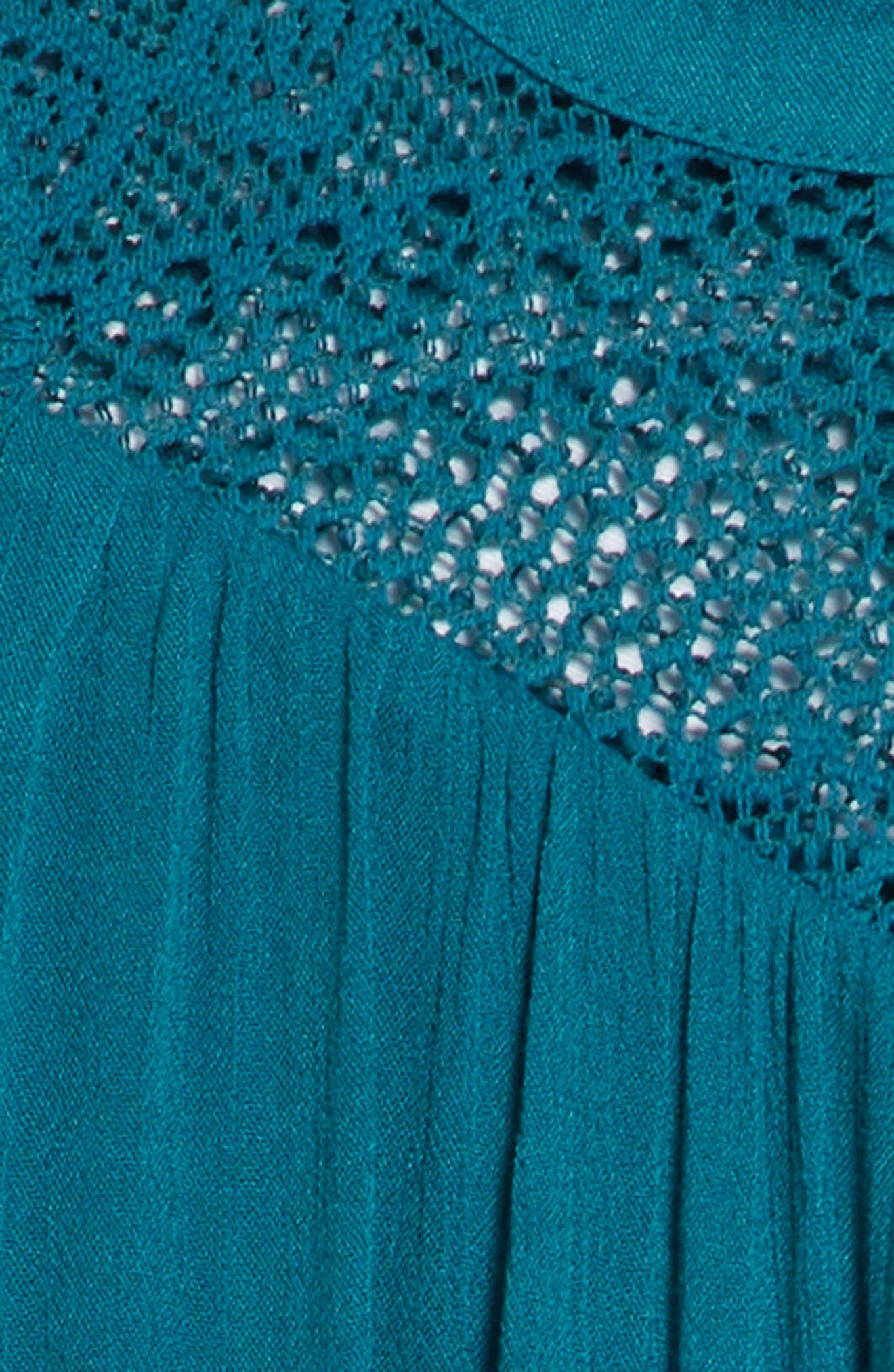 Lace Inset Ruffle Shift Dress,                             Alternate thumbnail 3, color,                             Teal