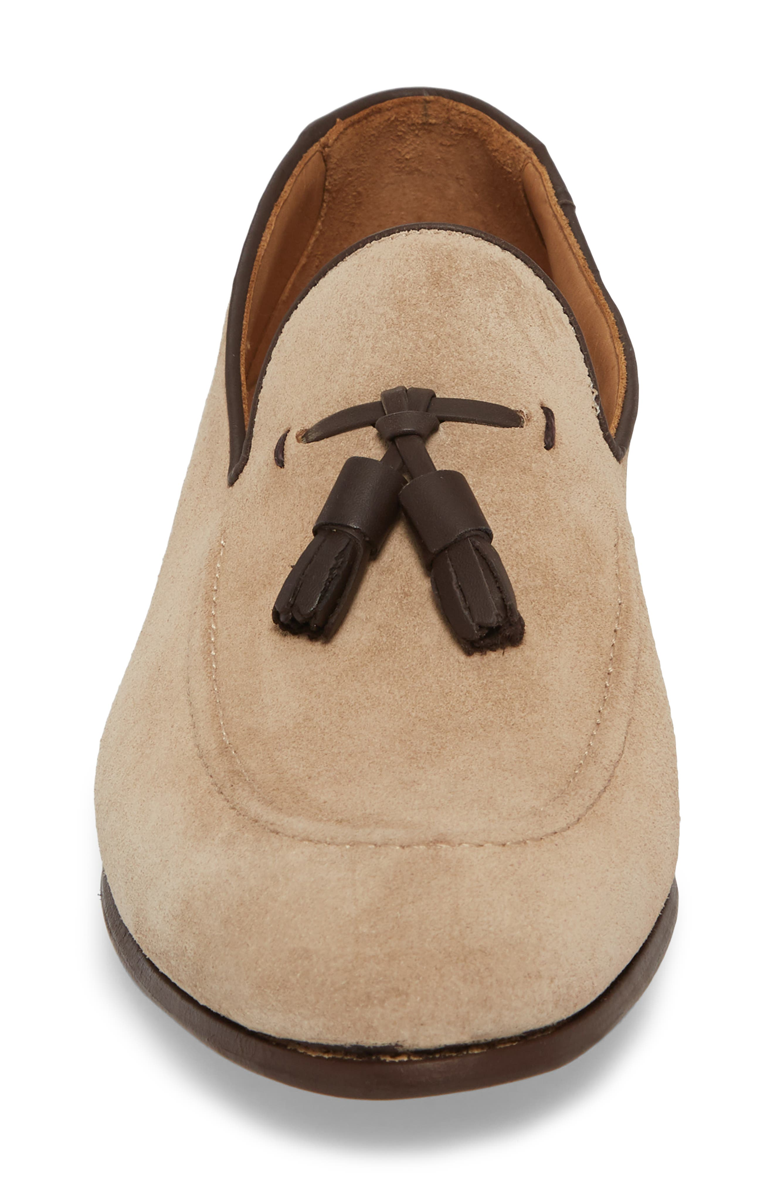 Ario Tassel Loafer,                             Alternate thumbnail 4, color,                             Sand Suede