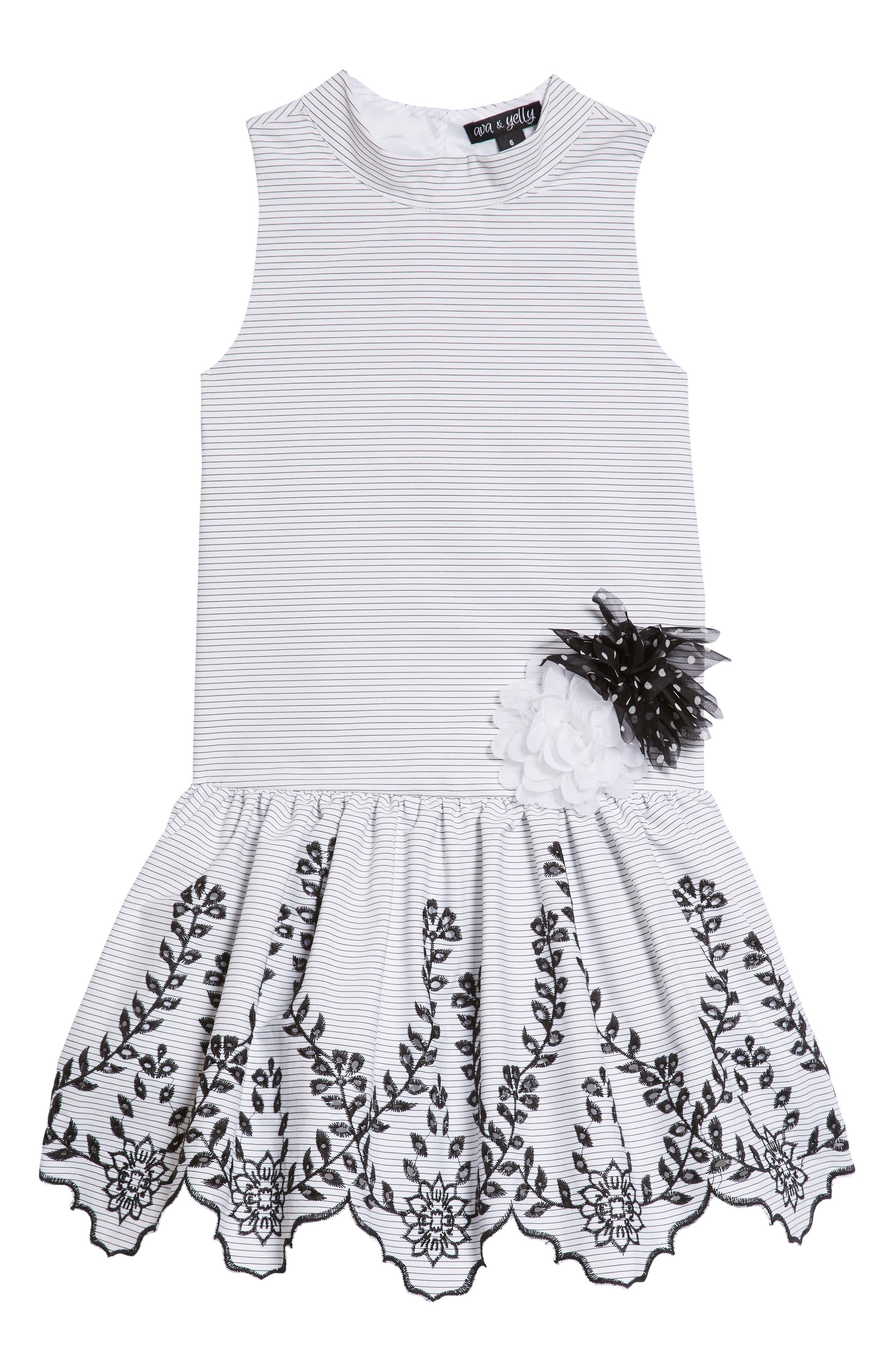 Drop Waist Party Dress,                         Main,                         color, White