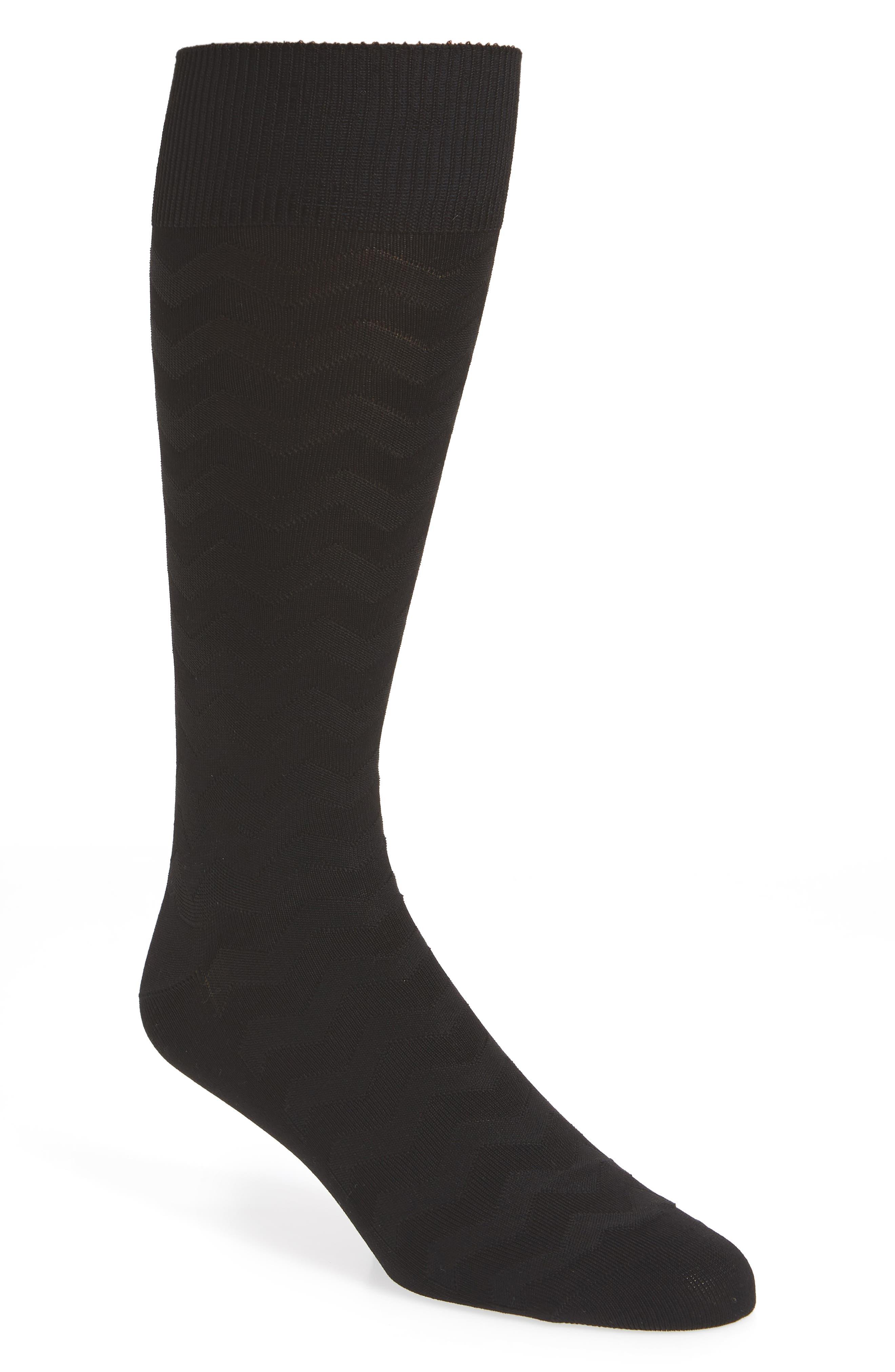 Zigzag Socks,                             Main thumbnail 1, color,                             Black