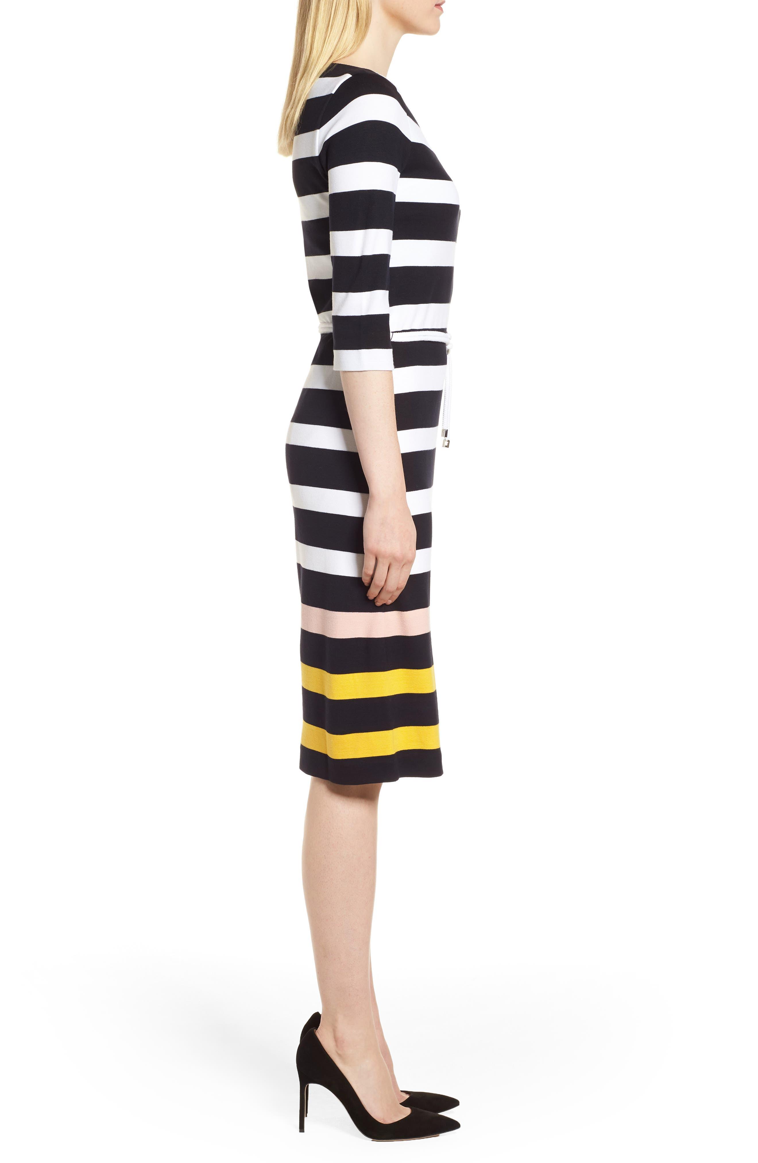 Elsara Stripe Sheath Dress,                             Alternate thumbnail 3, color,                             Navy Fantasy