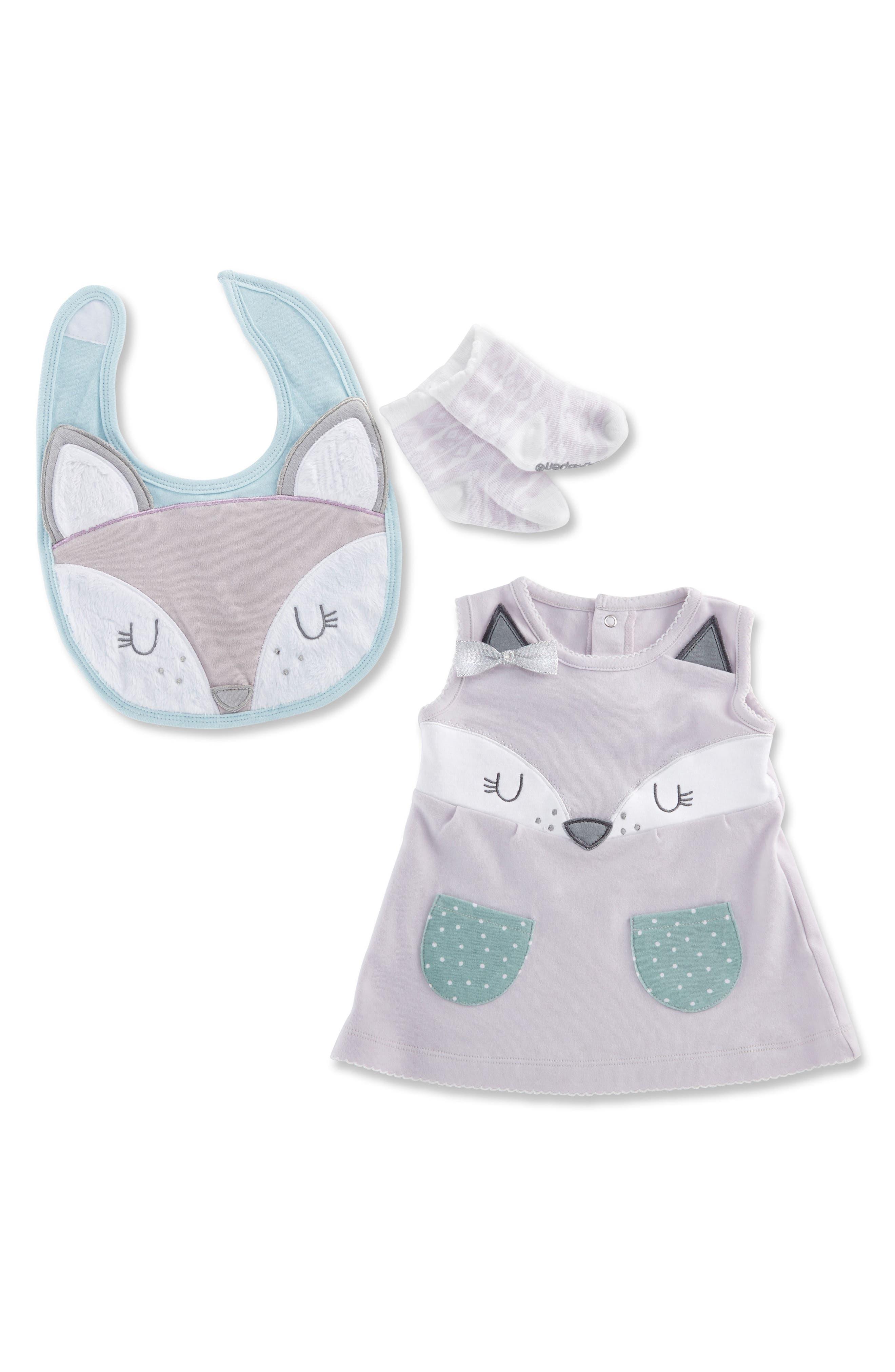 Forest Friends Fox Dress, Bib & Socks Set,                             Main thumbnail 1, color,                             Purple/ Aqua/ White