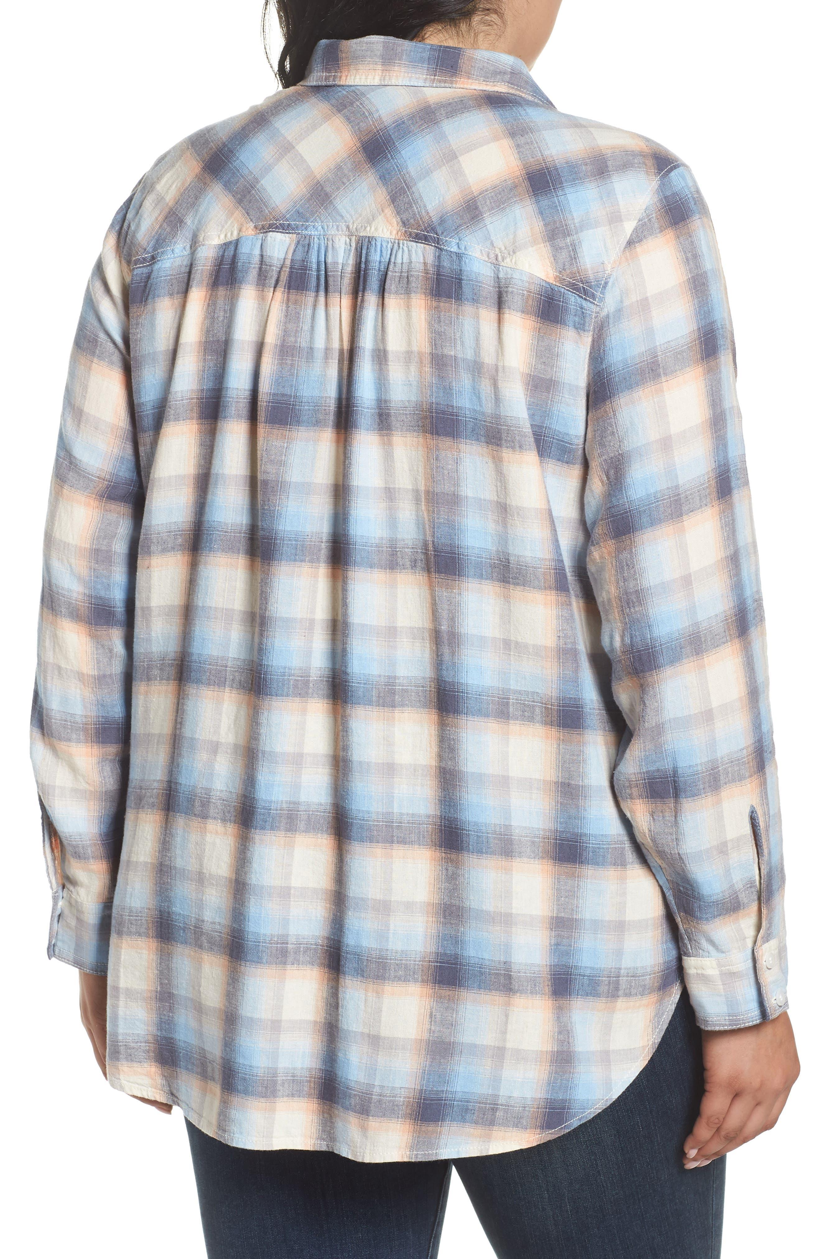 Plaid Linen Blend Shirt,                             Alternate thumbnail 2, color,                             Blue Plaid