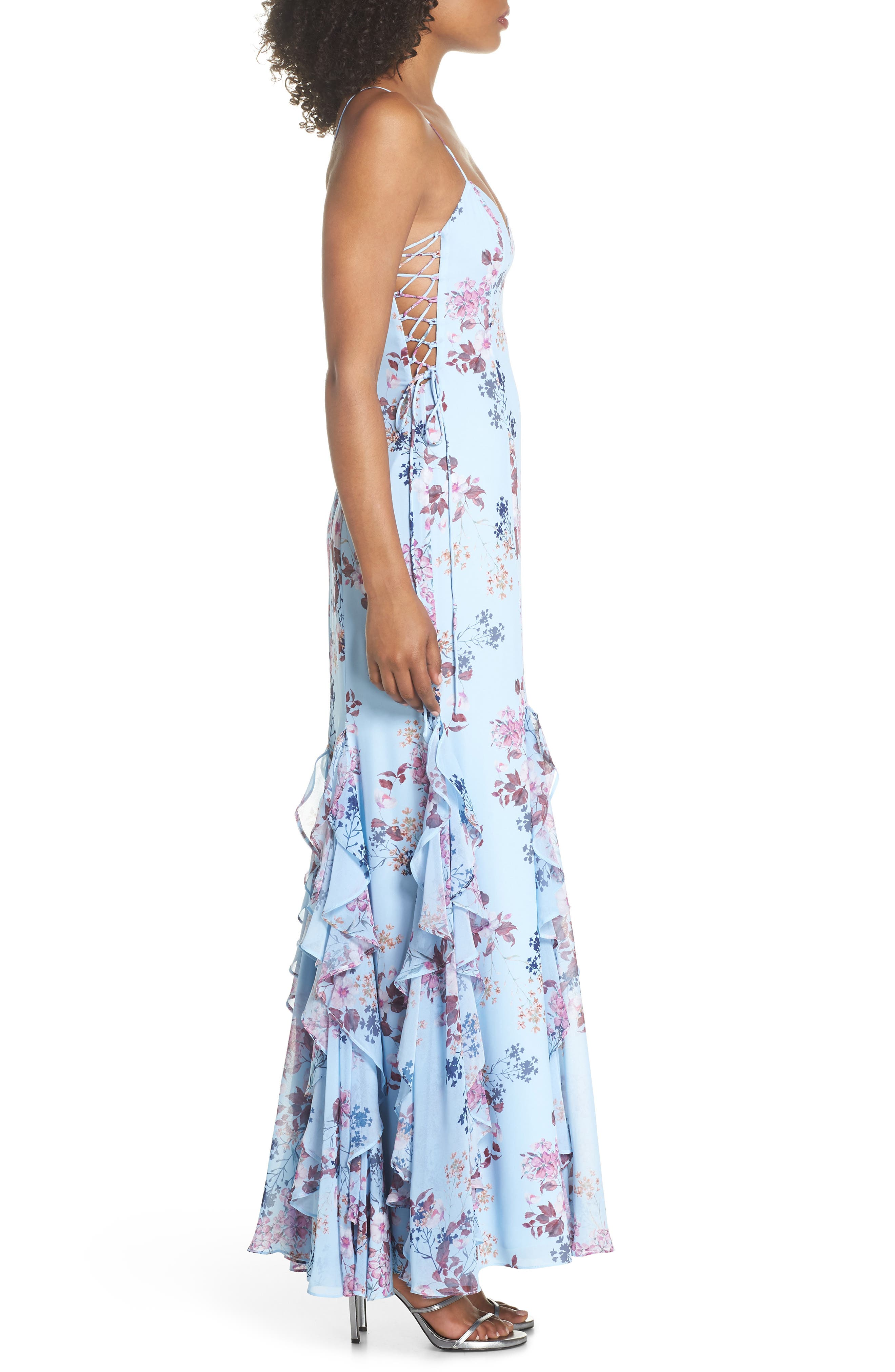 Anna Lace-Up Trumpet Gown,                             Alternate thumbnail 3, color,                             Rustic Floral