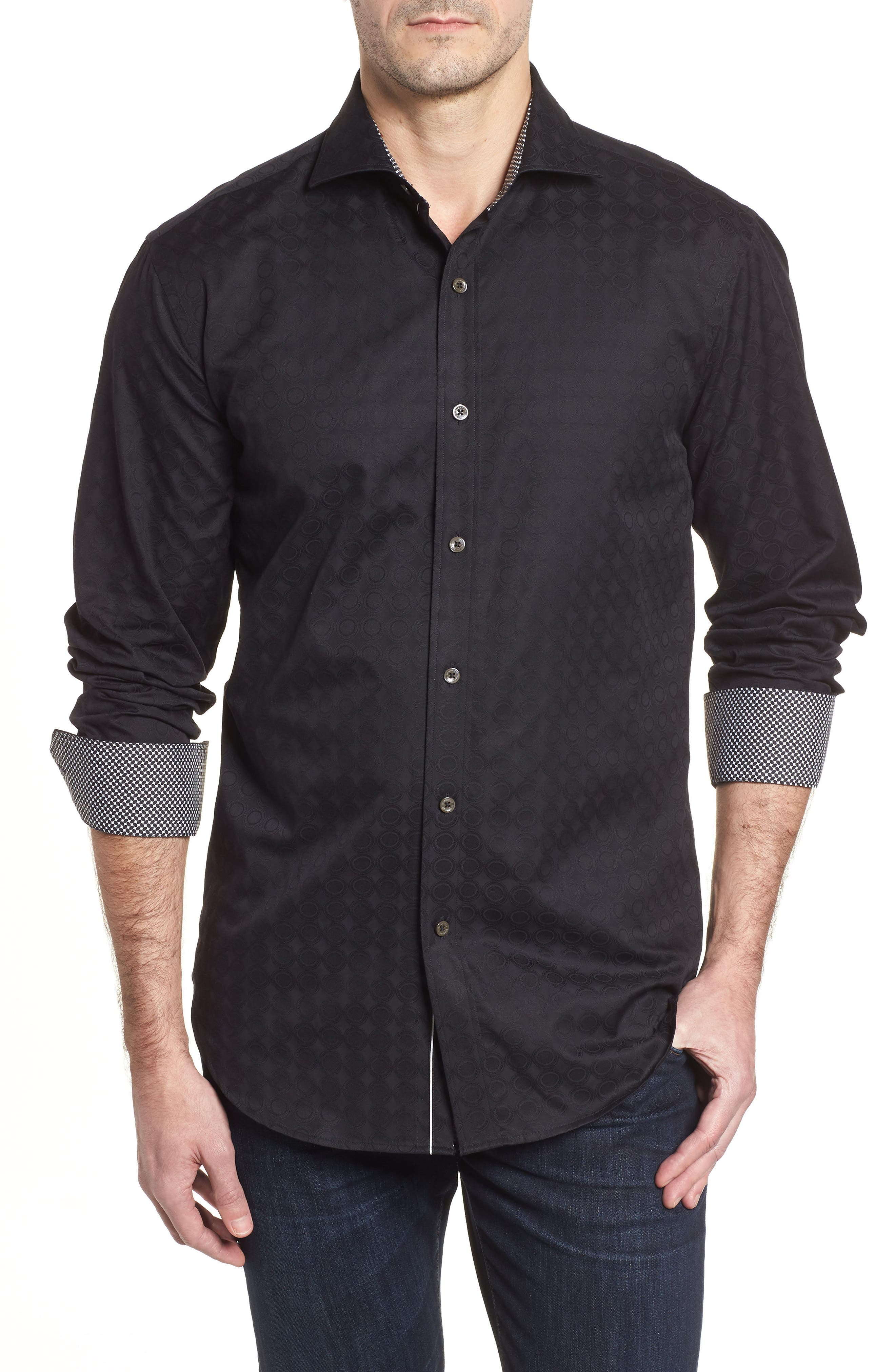 Shaped Fit Circle Print Sport Shirt,                             Main thumbnail 1, color,                             Black