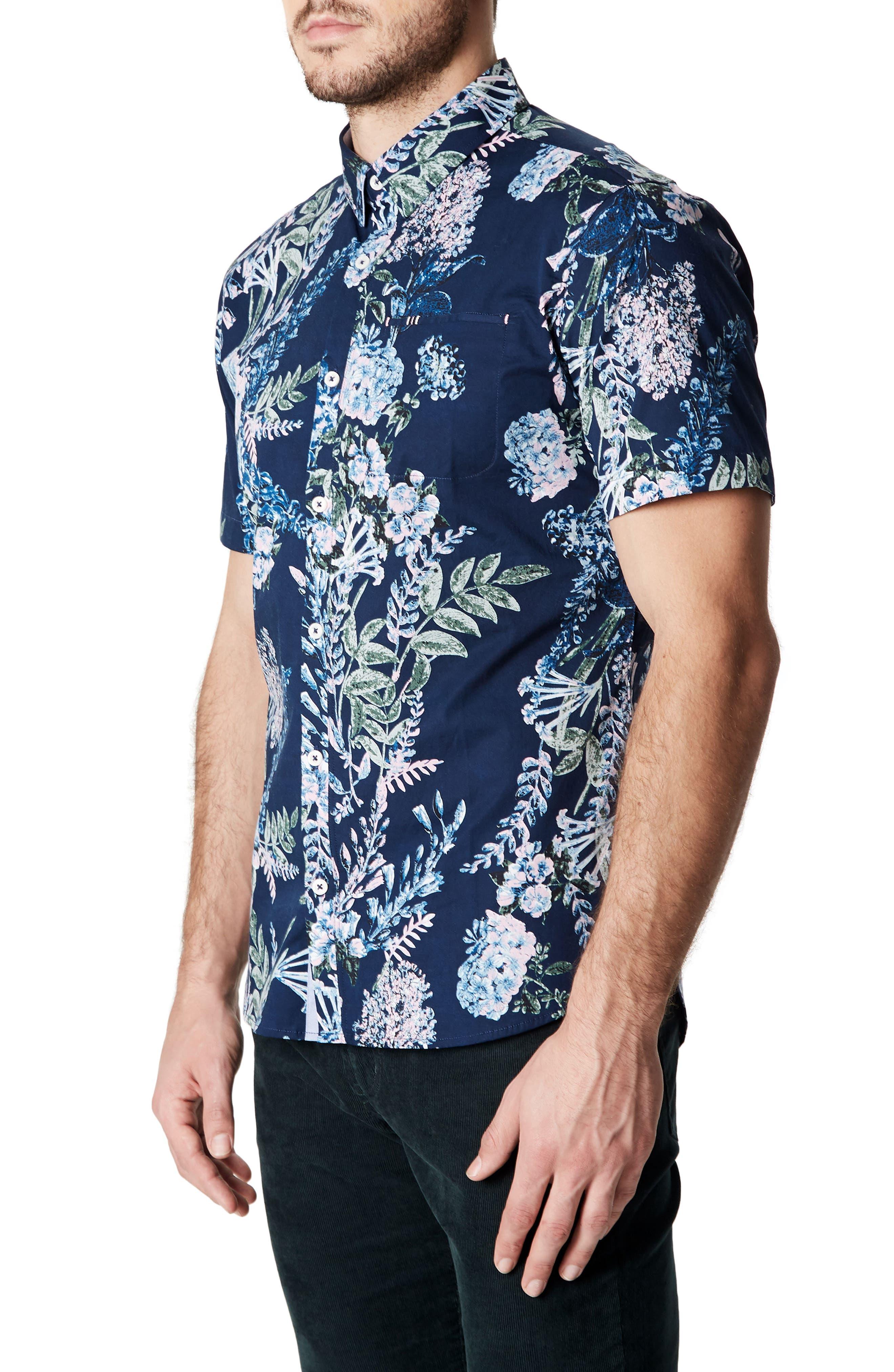 Conversation Peace Floral Sport Shirt,                             Alternate thumbnail 3, color,                             Mint