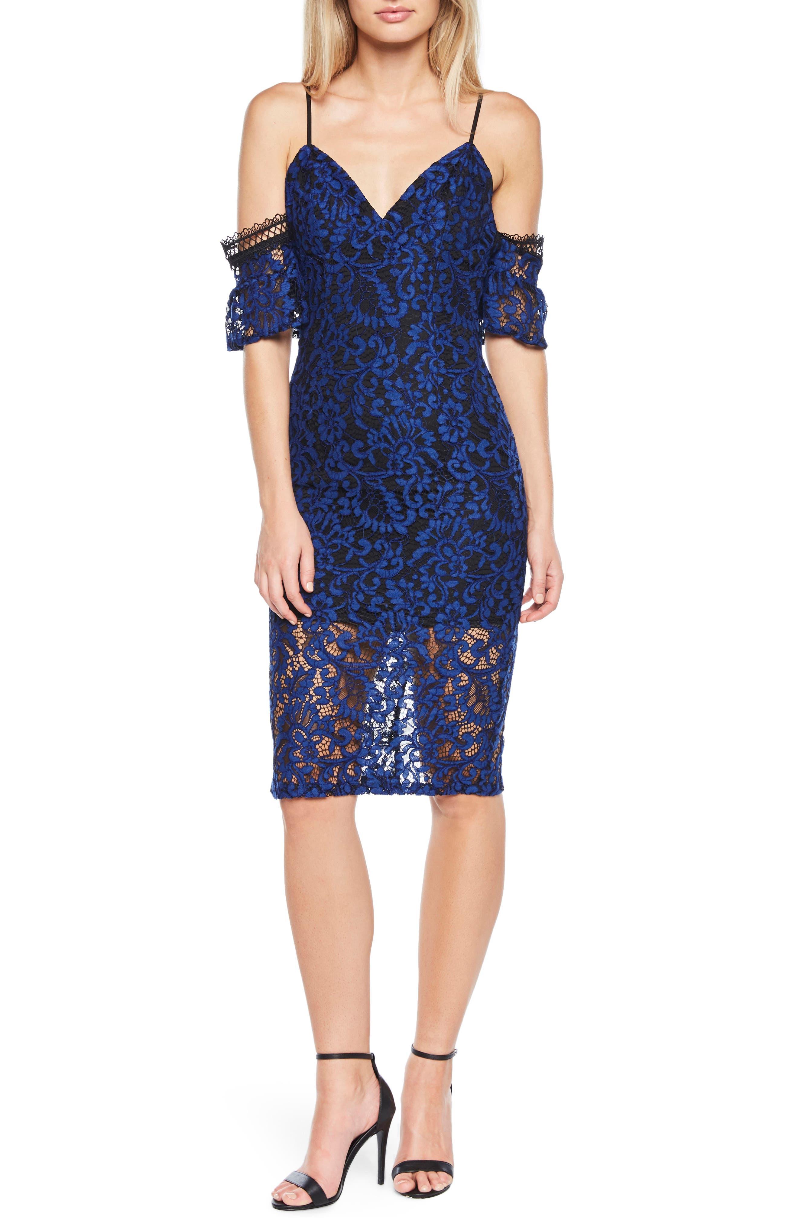 Taegen Cold Shoulder Lace Dress,                             Main thumbnail 1, color,                             Navy